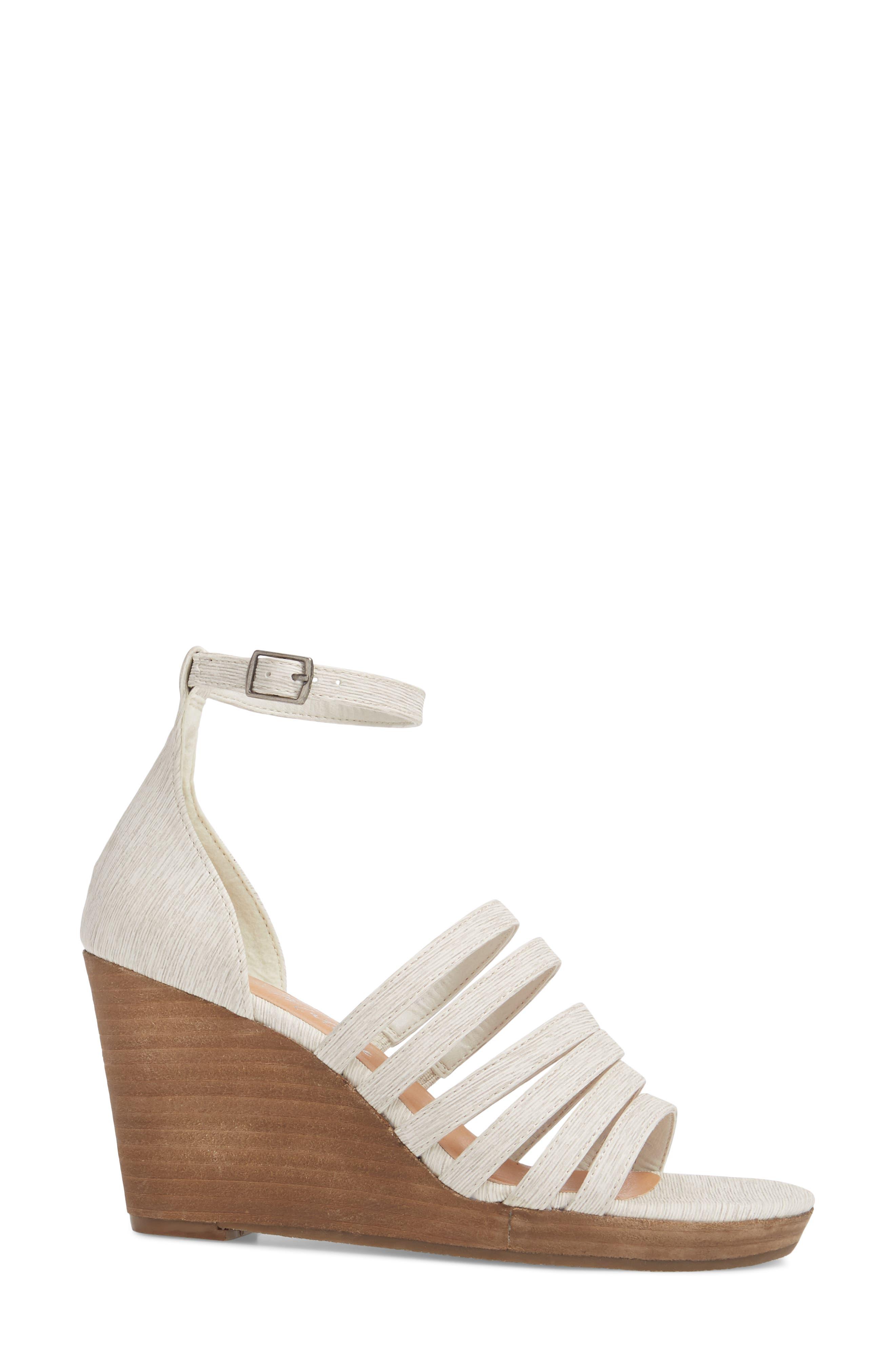 Kiera Wedge Sandal,                             Alternate thumbnail 3, color,                             NATURAL FABRIC