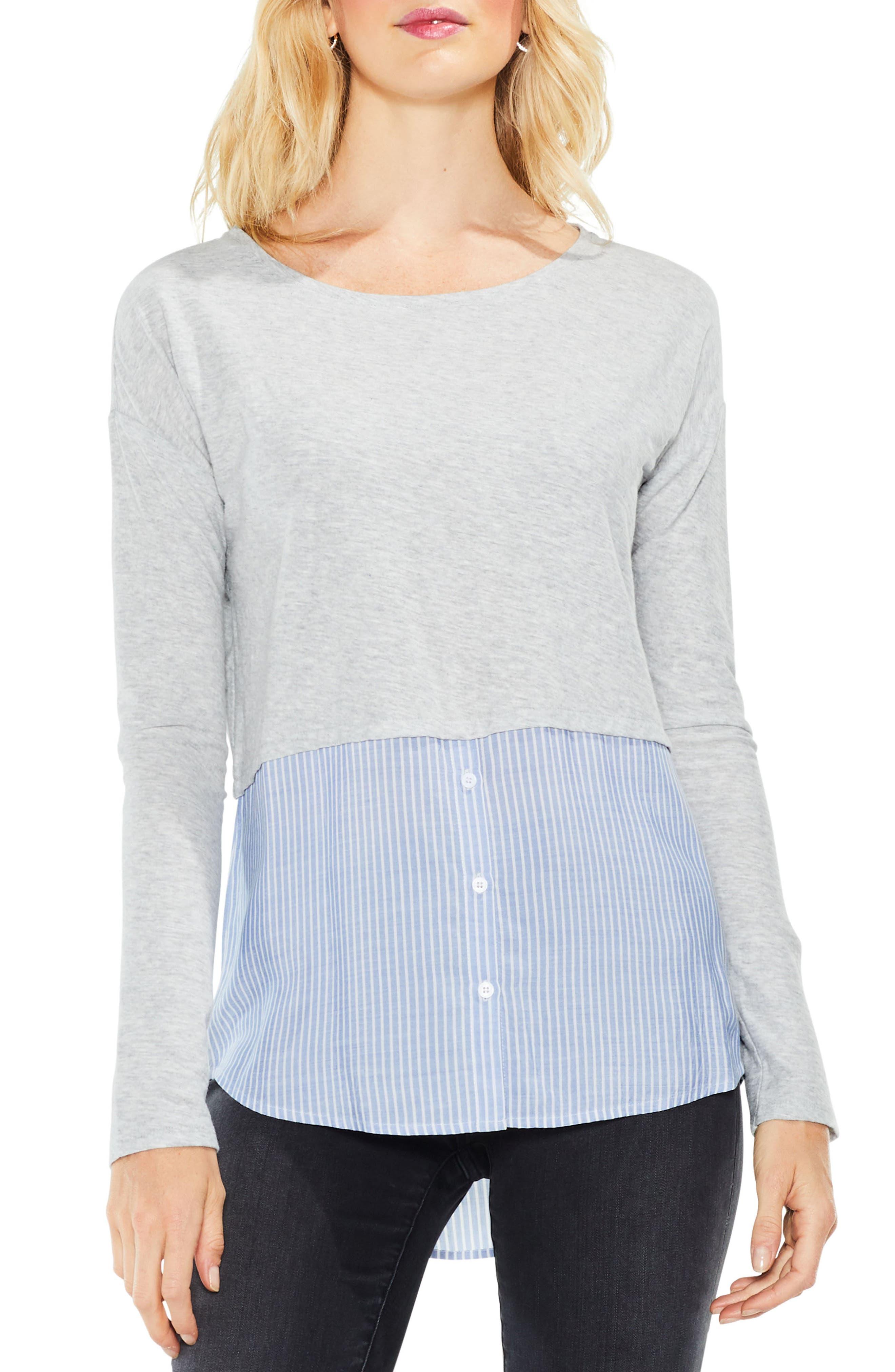 Mix Media Shirttail Hem Top,                         Main,                         color,