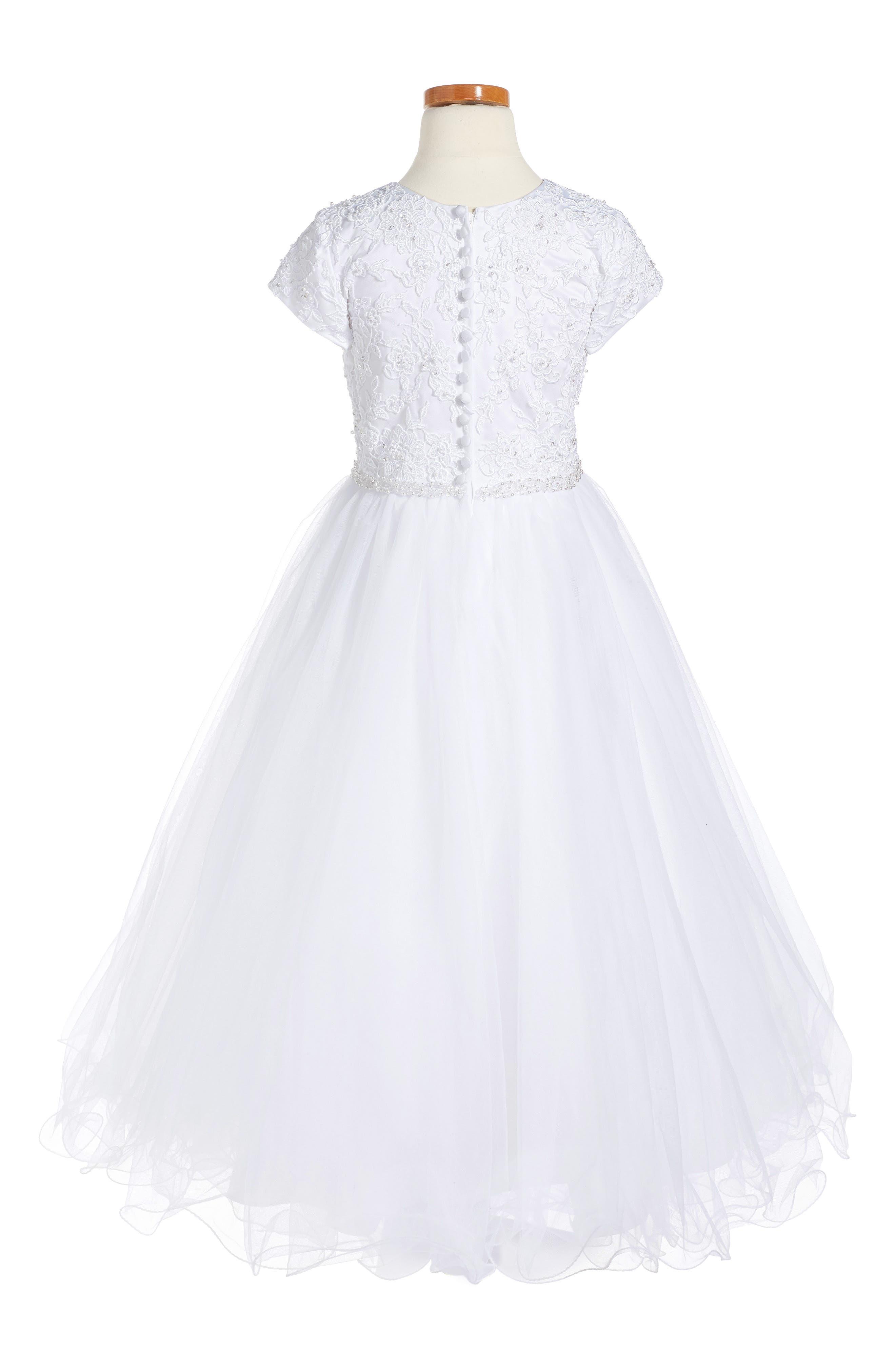 Floral Appliqué First Communion Dress,                             Alternate thumbnail 2, color,                             100