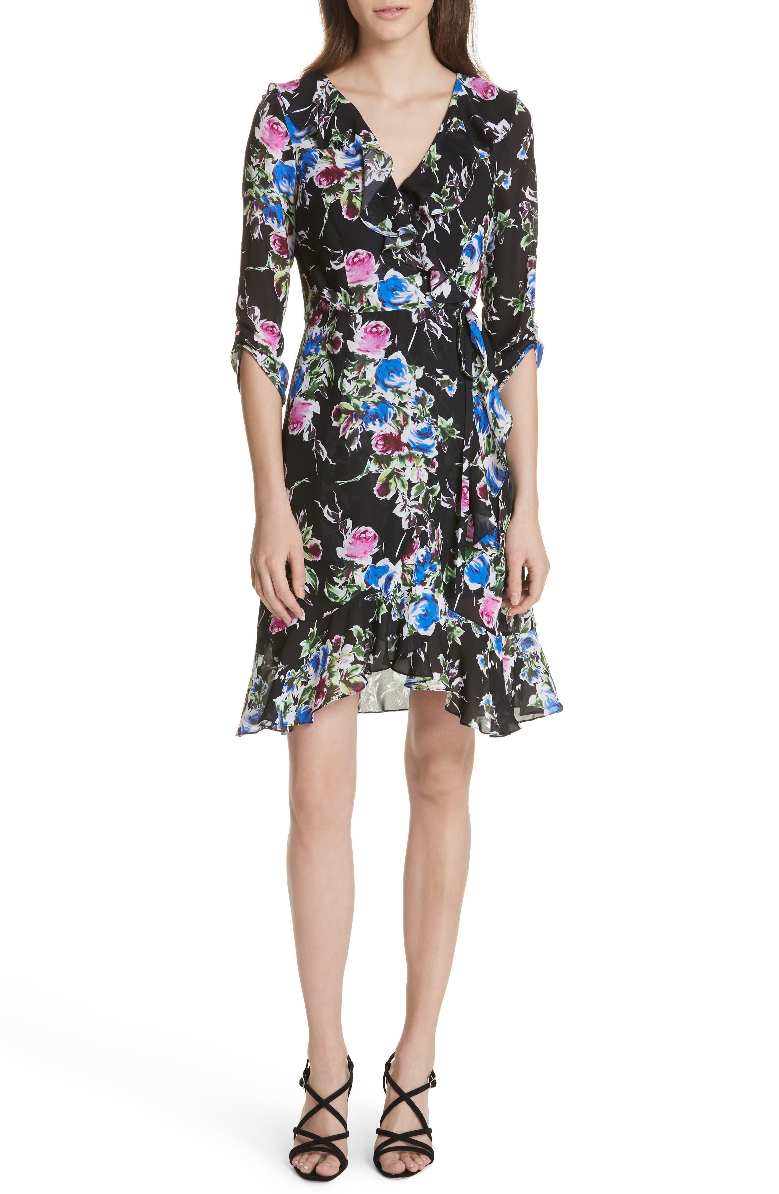 Audrey Floral Silk Wrap Dress,                             Main thumbnail 1, color,                             001