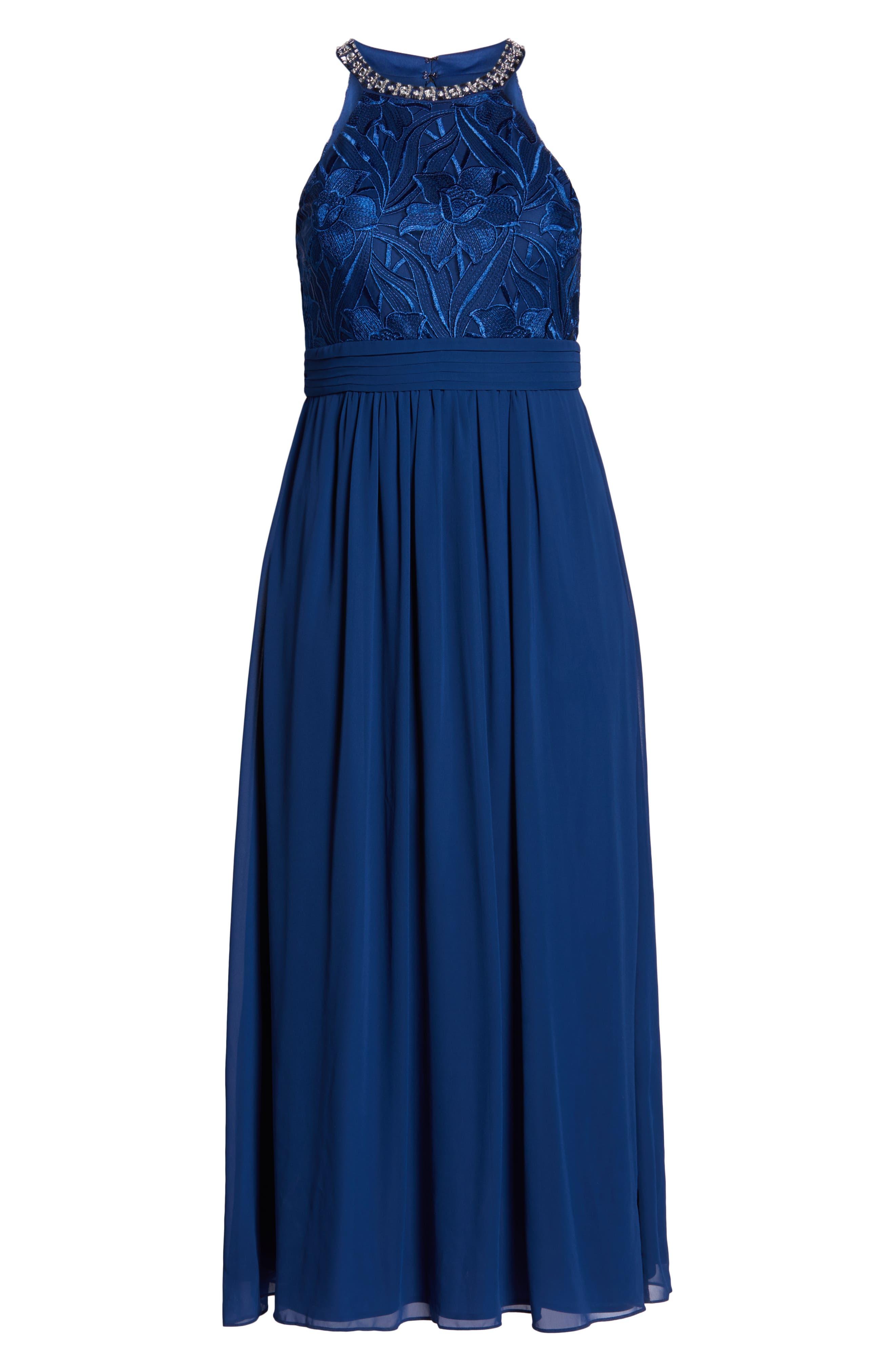 Crystal Embellished Halter Gown,                             Alternate thumbnail 3, color,                             430