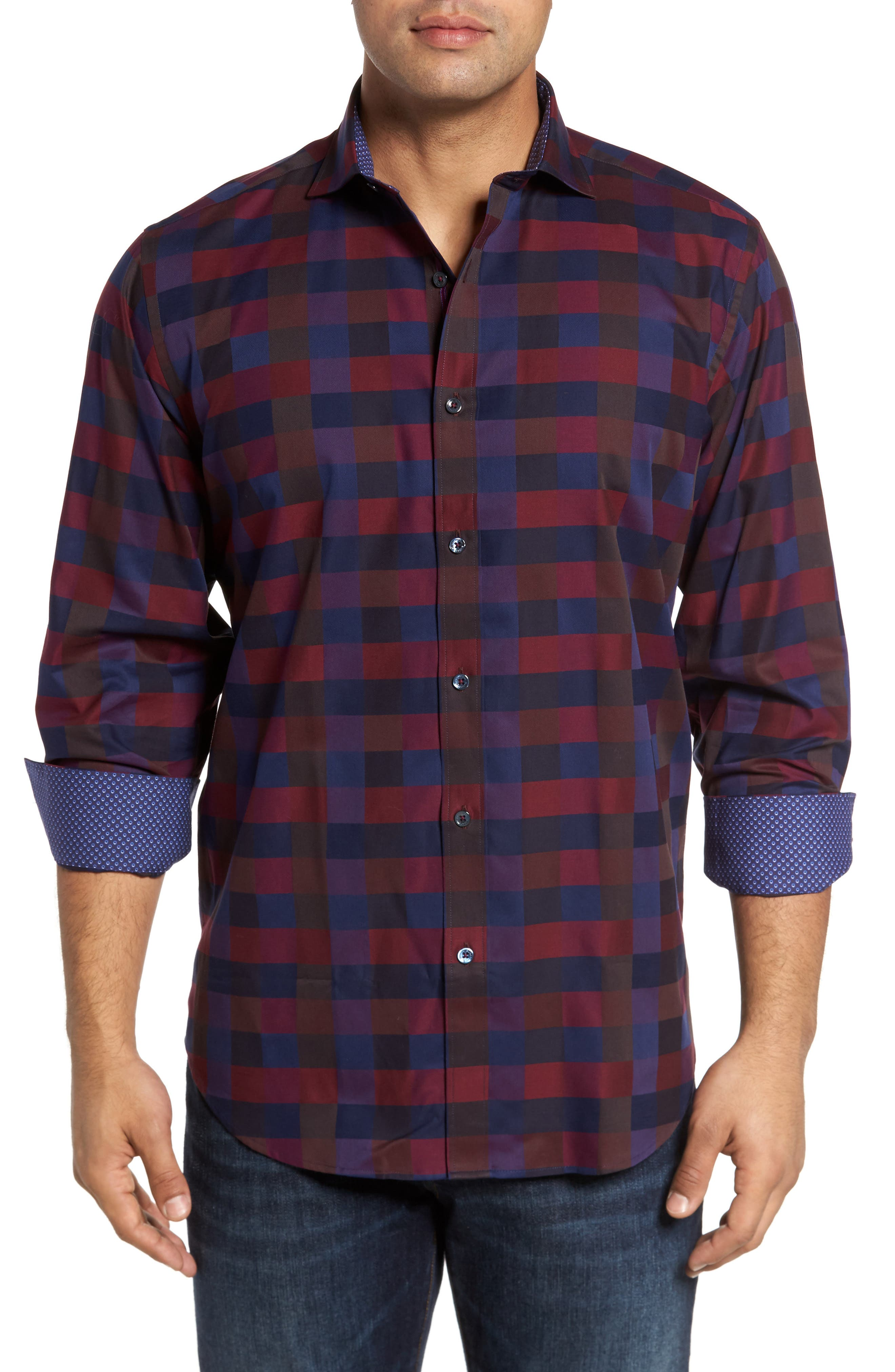 Classic Fit Check Sport Shirt,                         Main,                         color, 503