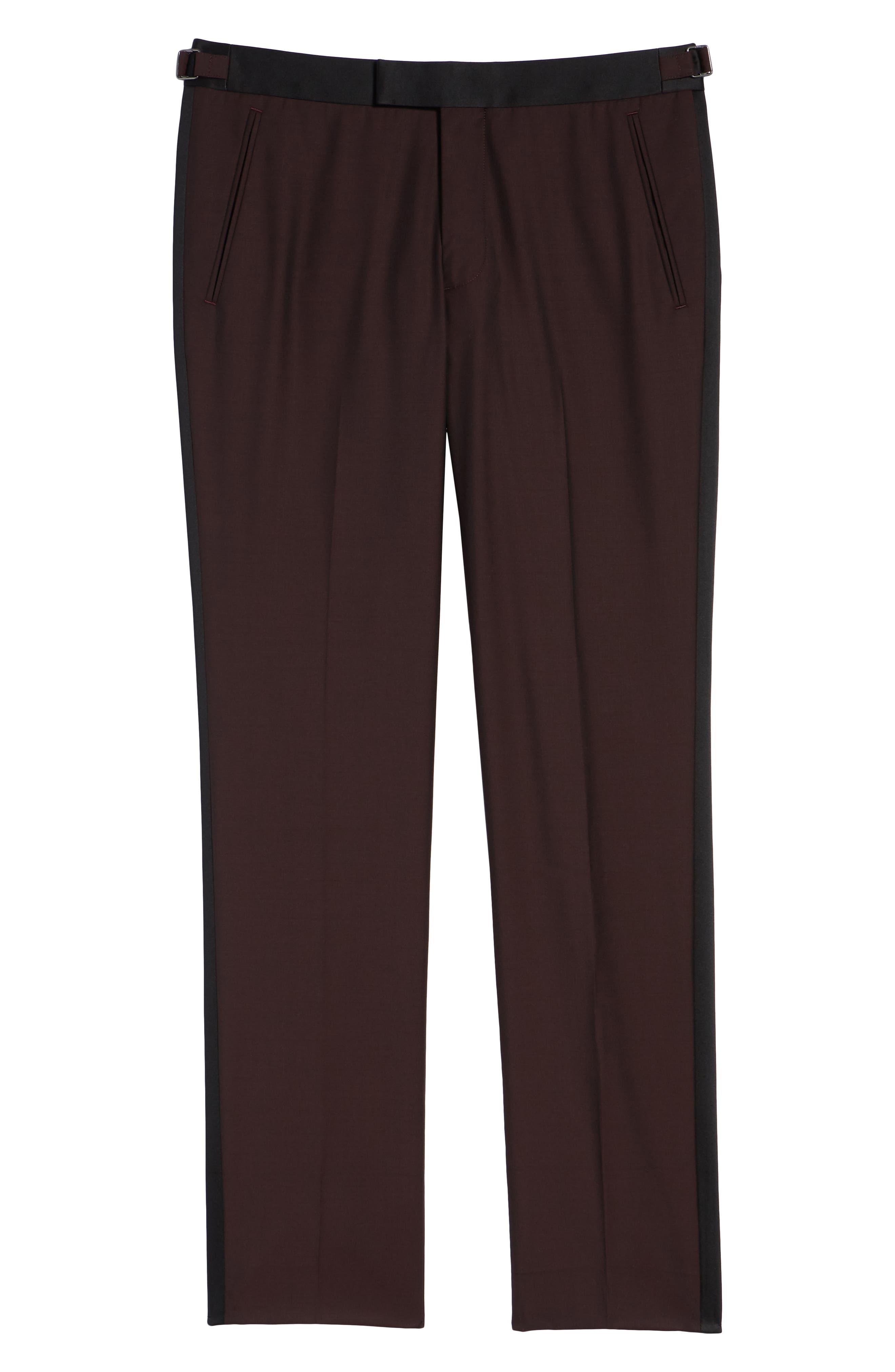 Capstone Slim Fit Tuxedo Trousers,                             Alternate thumbnail 6, color,                             MAROON