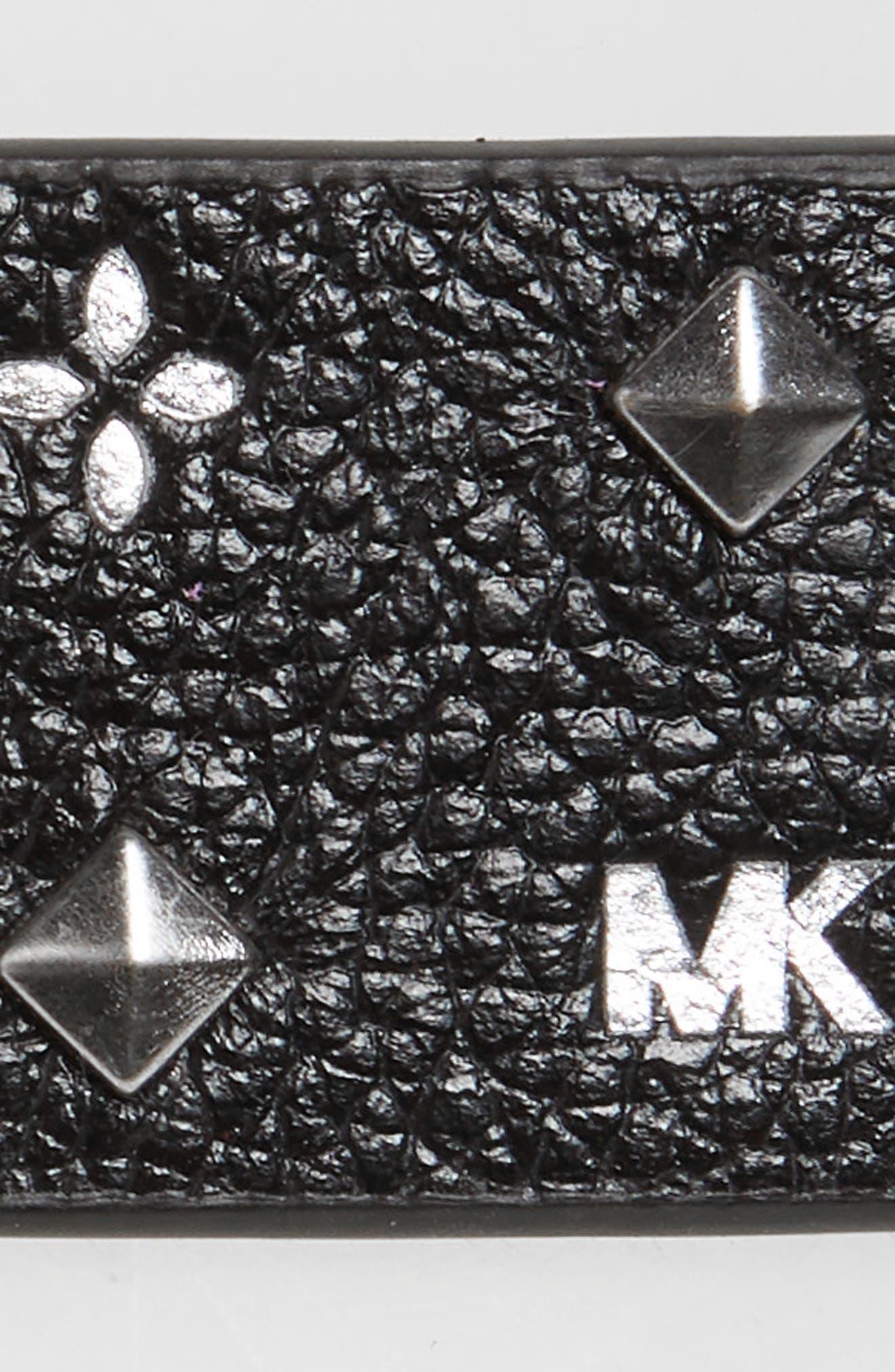 Studded Logo Leather Belt,                             Alternate thumbnail 3, color,                             BLACK/ LIGHT POLISHED GOLD
