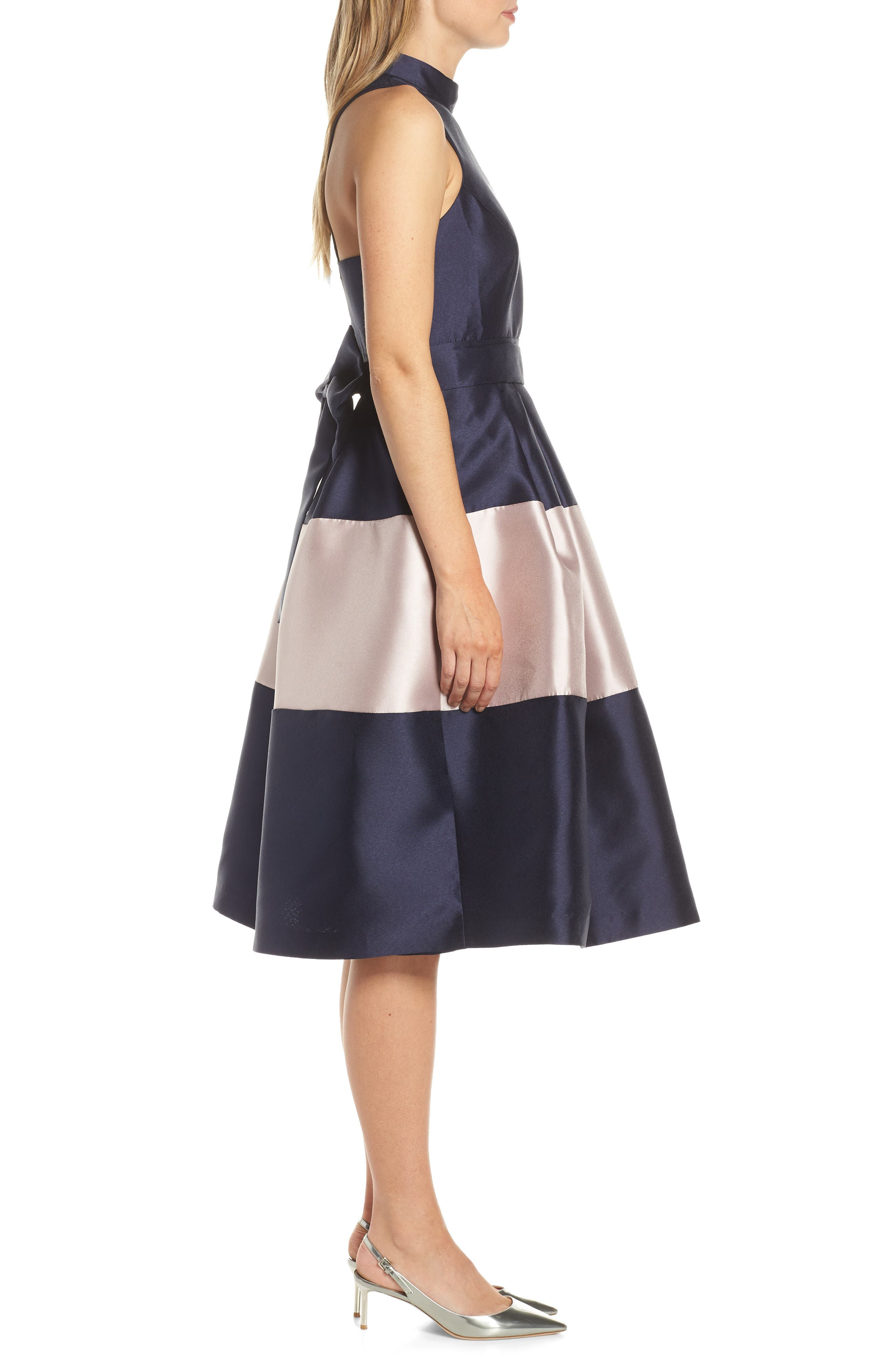 1901,                             Colorblock Fit & Flare Dress,                             Alternate thumbnail 3, color,                             NAVY SAPPHIRE