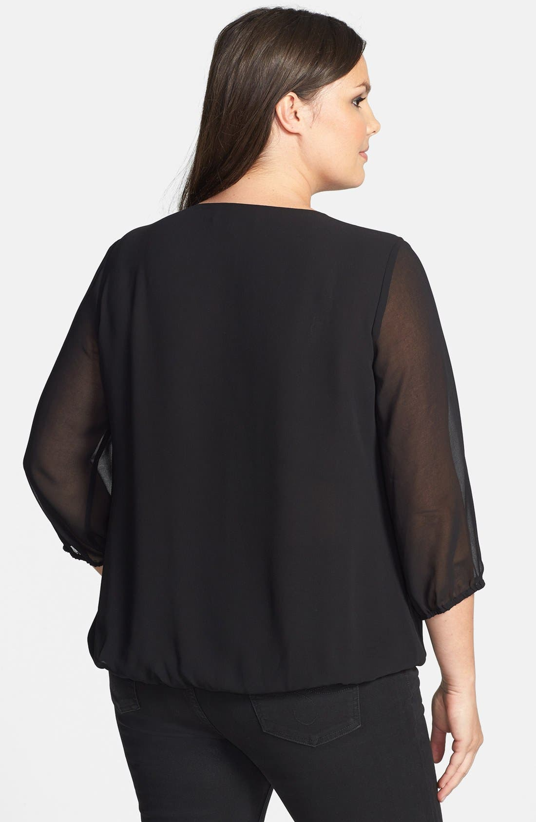 Embellished Collar Chiffon Blouse,                             Alternate thumbnail 3, color,
