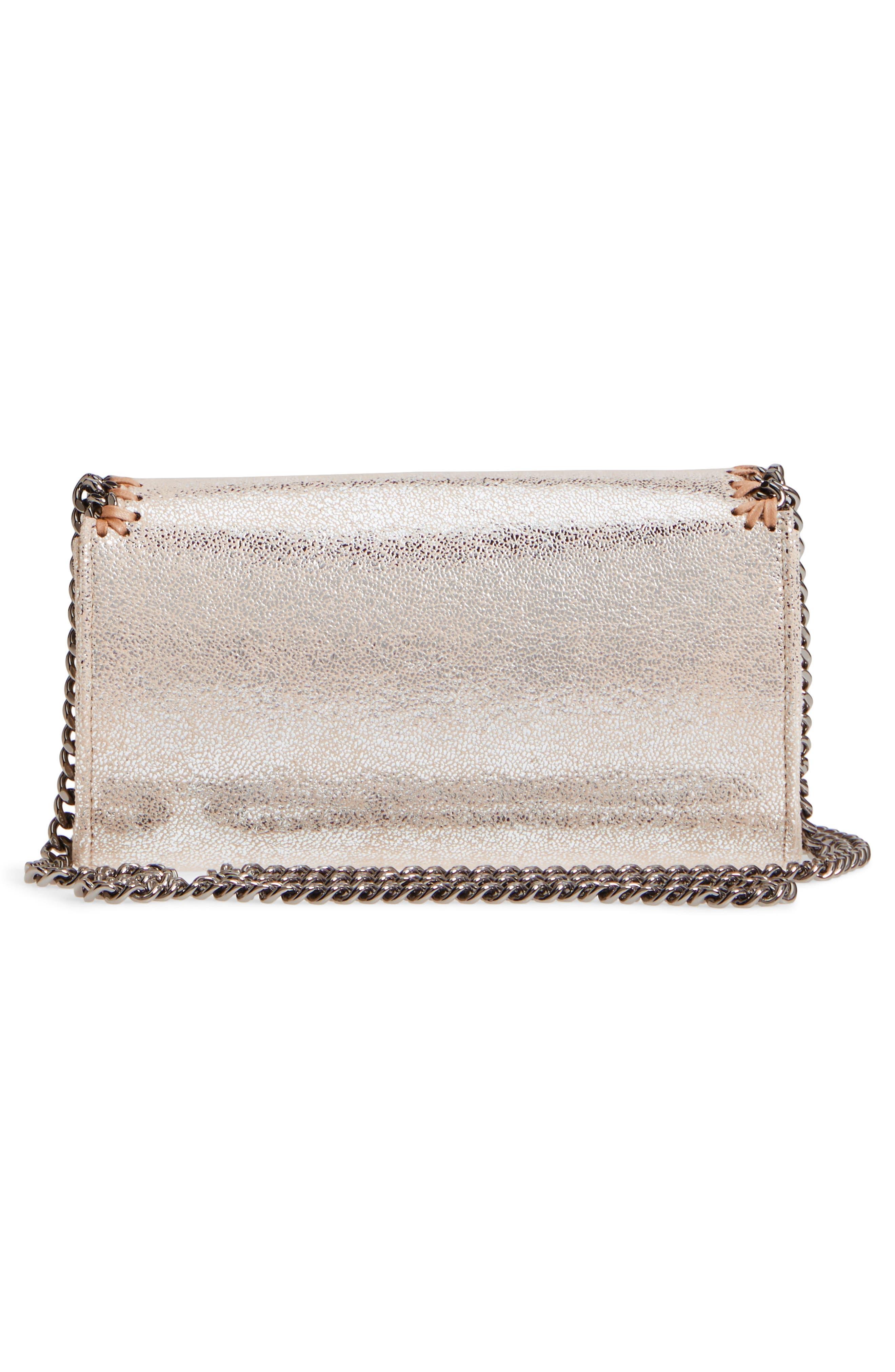 Falabella Metallic Faux Chamois Crossbody Bag,                             Alternate thumbnail 6, color,