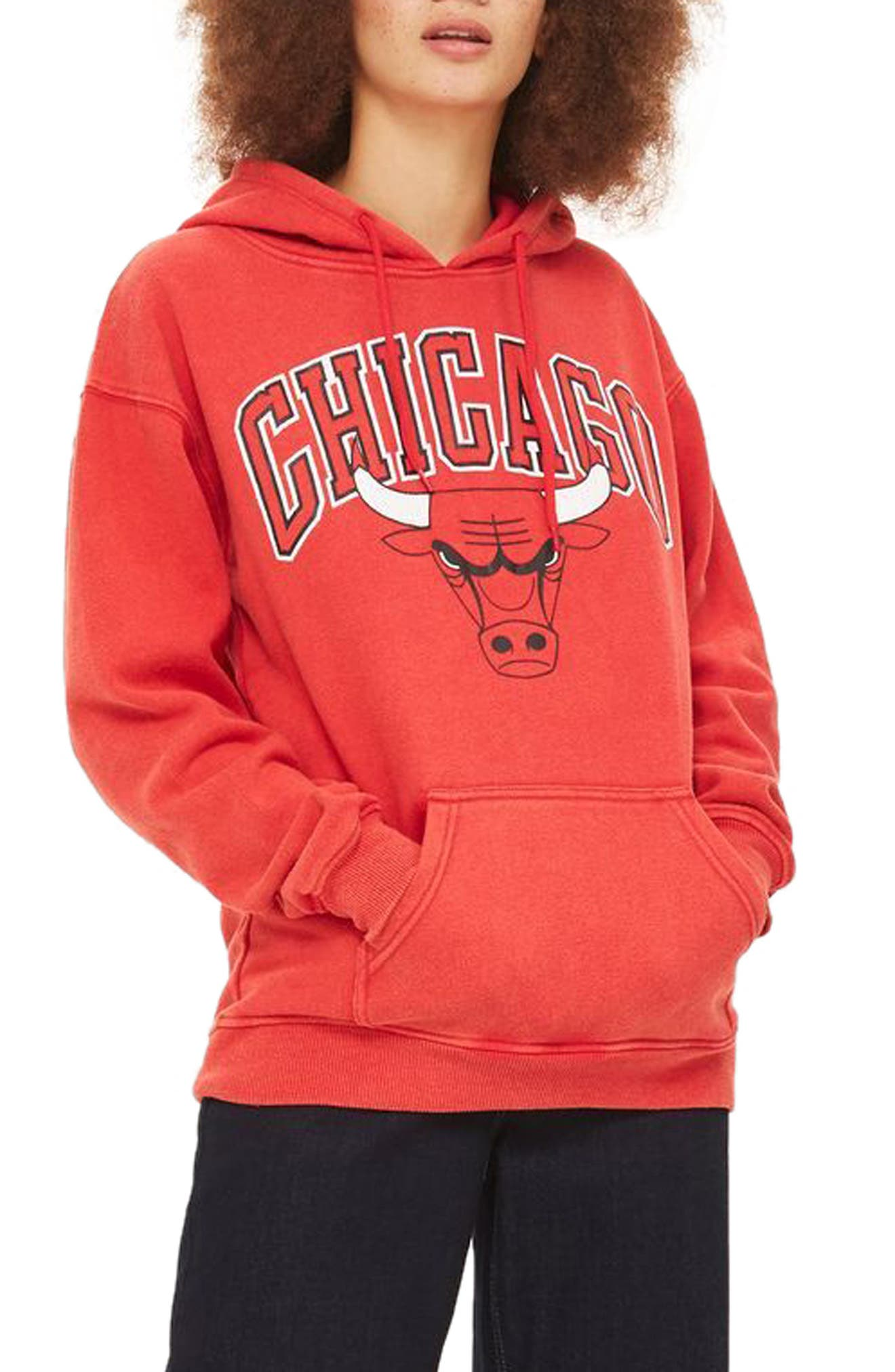 TOPSHOP by x UNX Chicago Bulls Hoodie, Main, color, 601