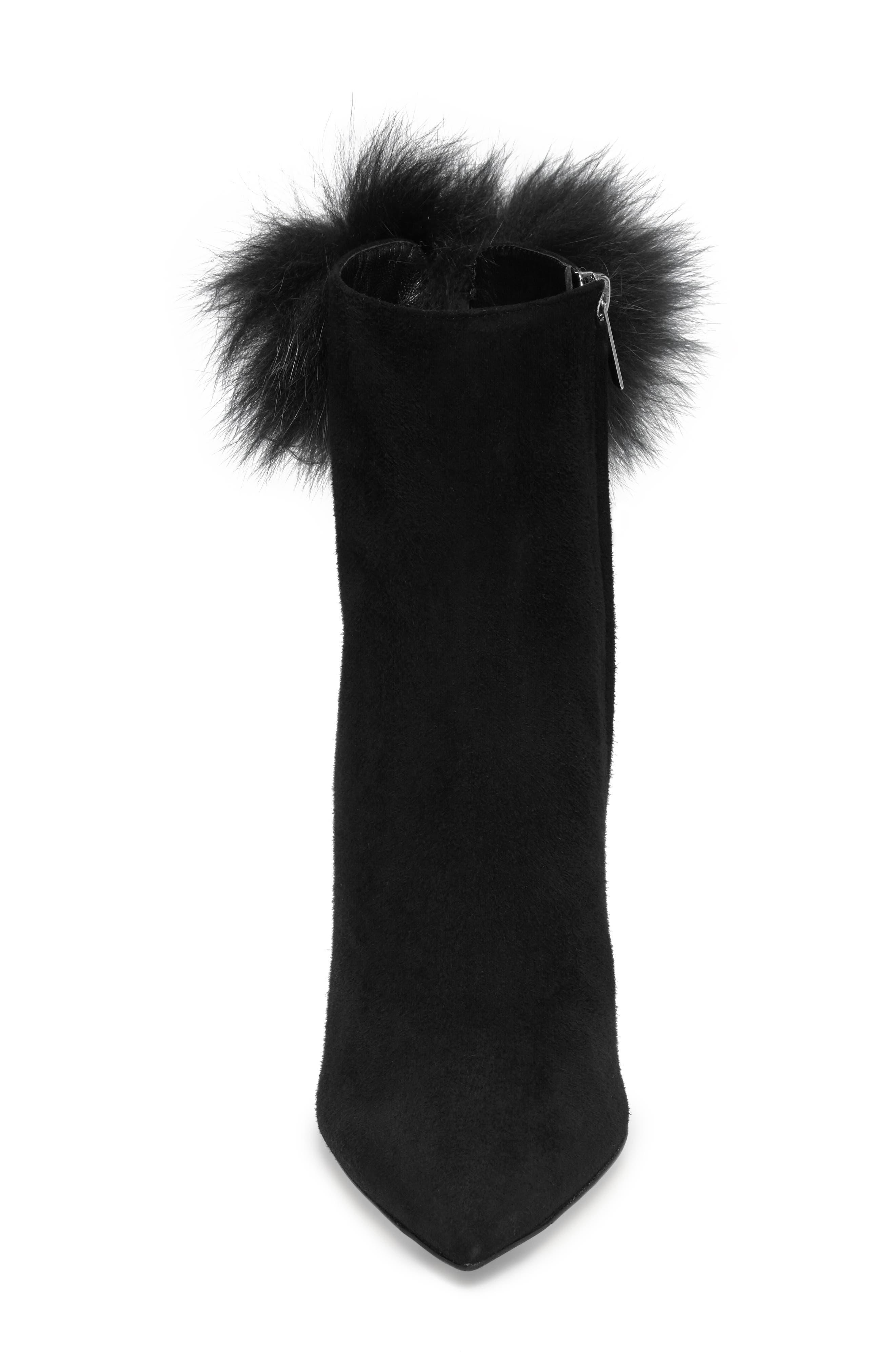 Tesler Genuine Fox Fur Bootie,                             Alternate thumbnail 4, color,                             001