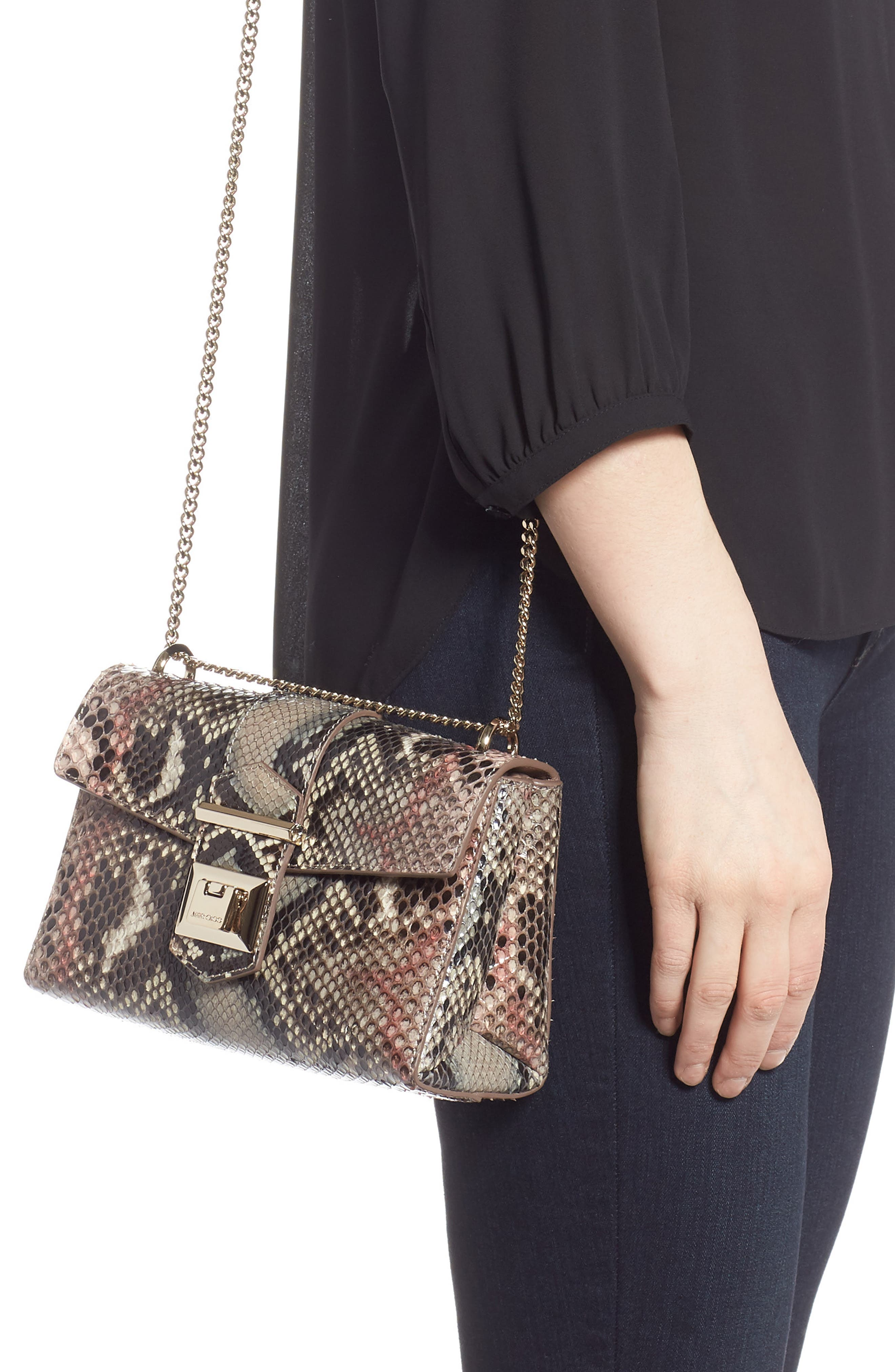 Marianne Genuine Python Crossbody Bag,                             Alternate thumbnail 2, color,                             ROSEWOOD MIX
