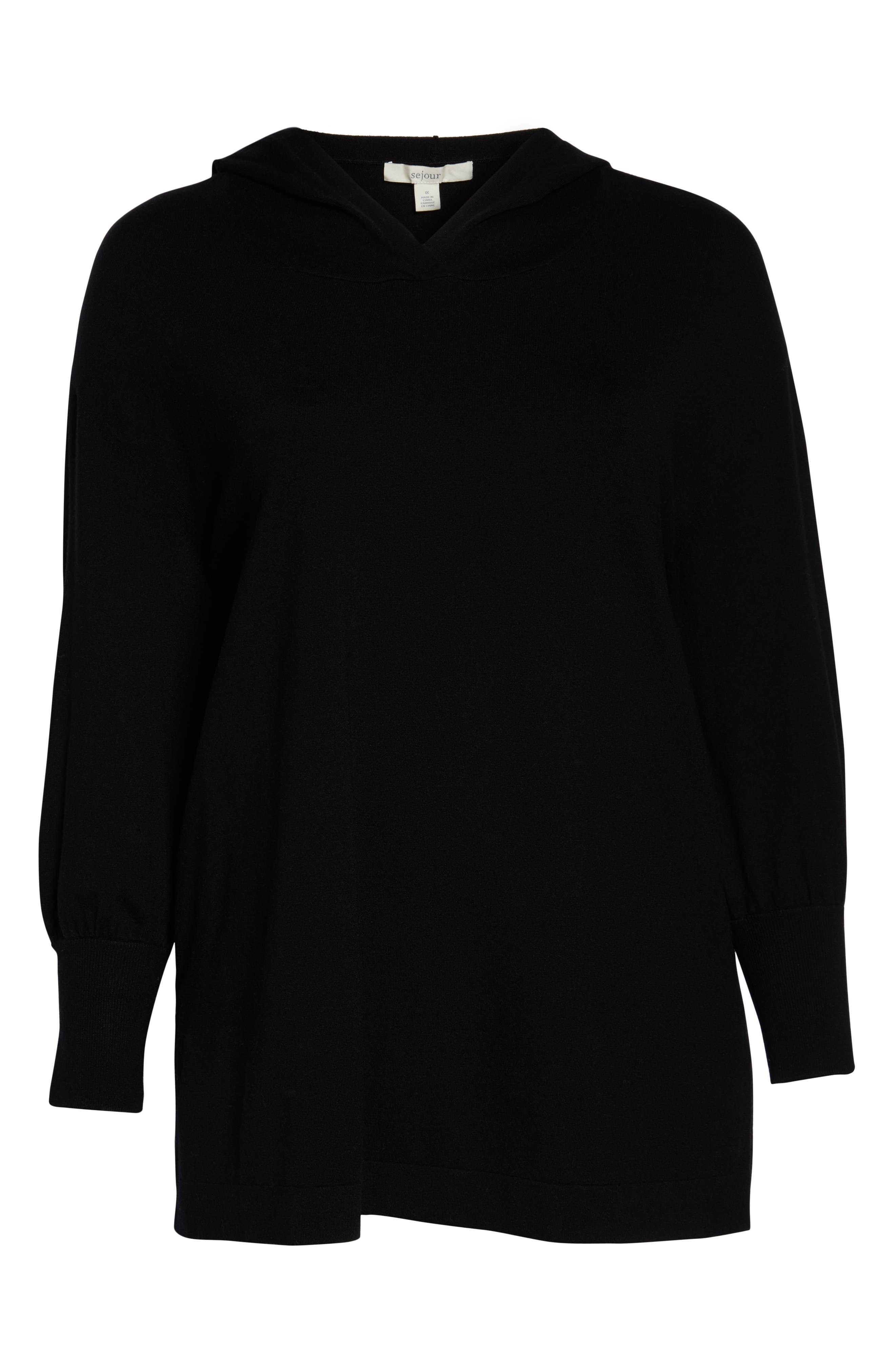 Puff Sleeve Long Hoodie,                             Alternate thumbnail 6, color,                             BLACK