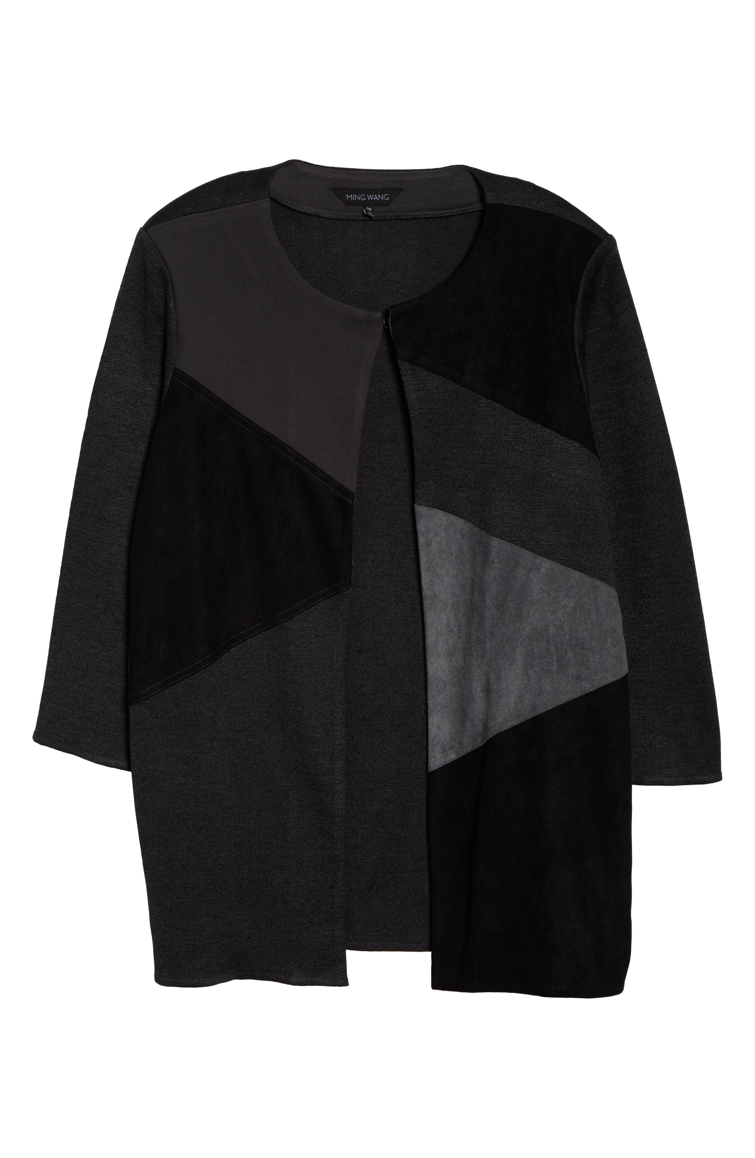 MING WANG,                             Colorblock Knit Jacket,                             Alternate thumbnail 6, color,                             BLACK/ GRANITE