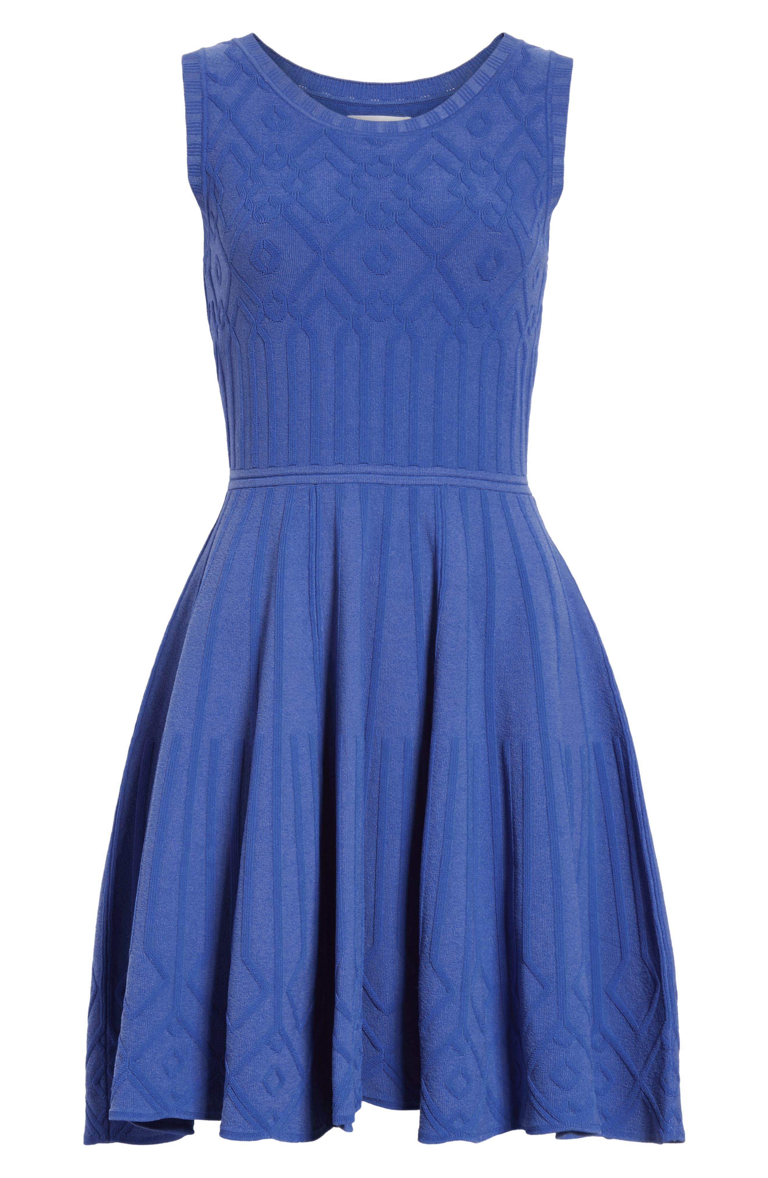 Mosaic Texture Knit Fit & Flare Dress,                             Alternate thumbnail 7, color,                             473