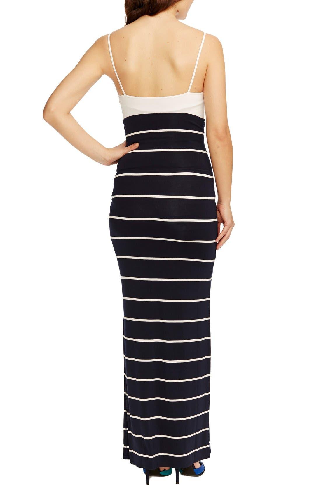 'Jessica' Stripe Maternity Maxi Skirt,                             Alternate thumbnail 4, color,                             NAVY WHITE STRIPE