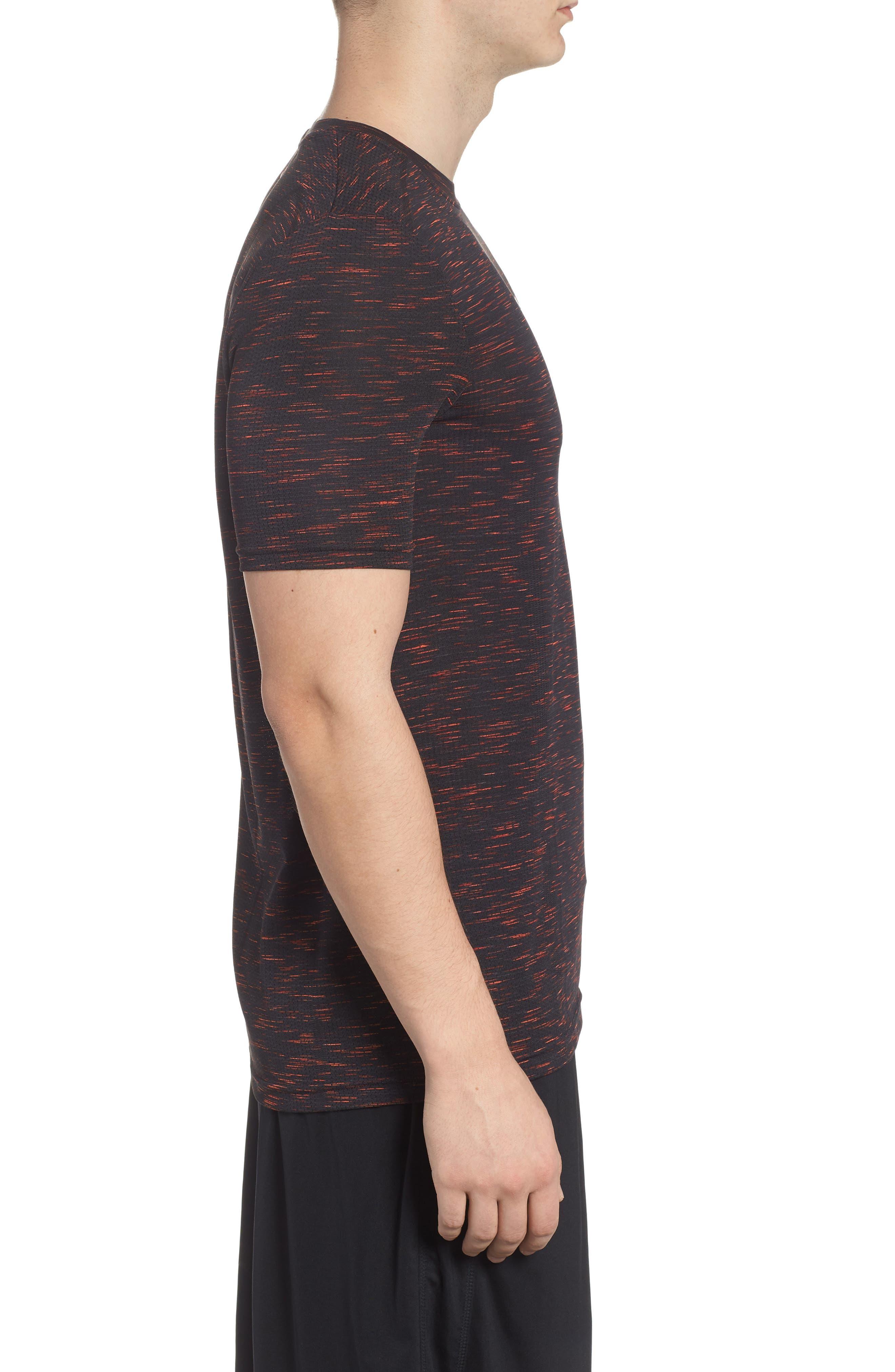 Threadborne Regular Fit T-Shirt,                             Alternate thumbnail 3, color,                             ANTHRACITE/ NEON CORAL