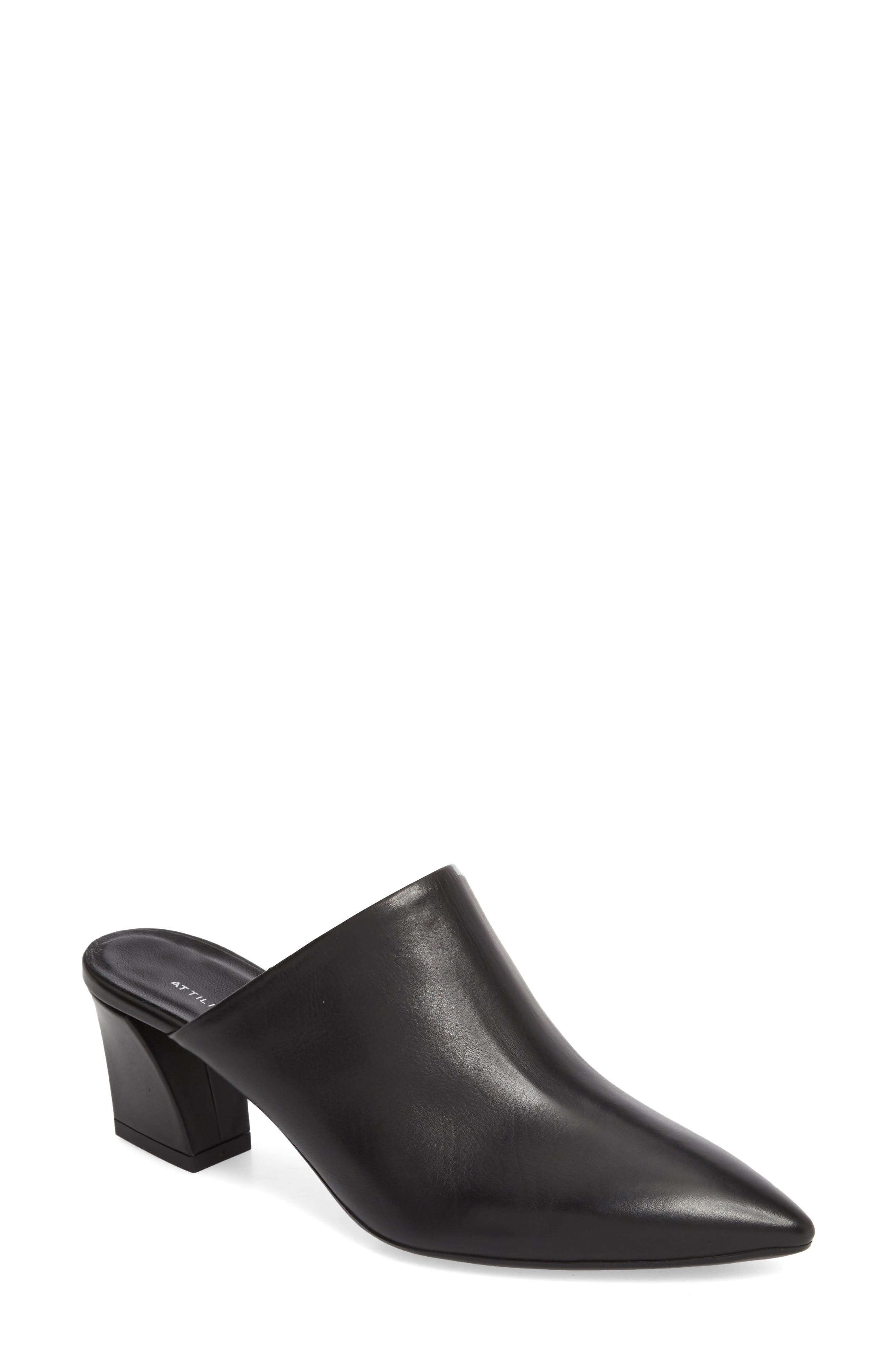 Pointy Toe Mule,                             Main thumbnail 1, color,                             BLACK LEATHER