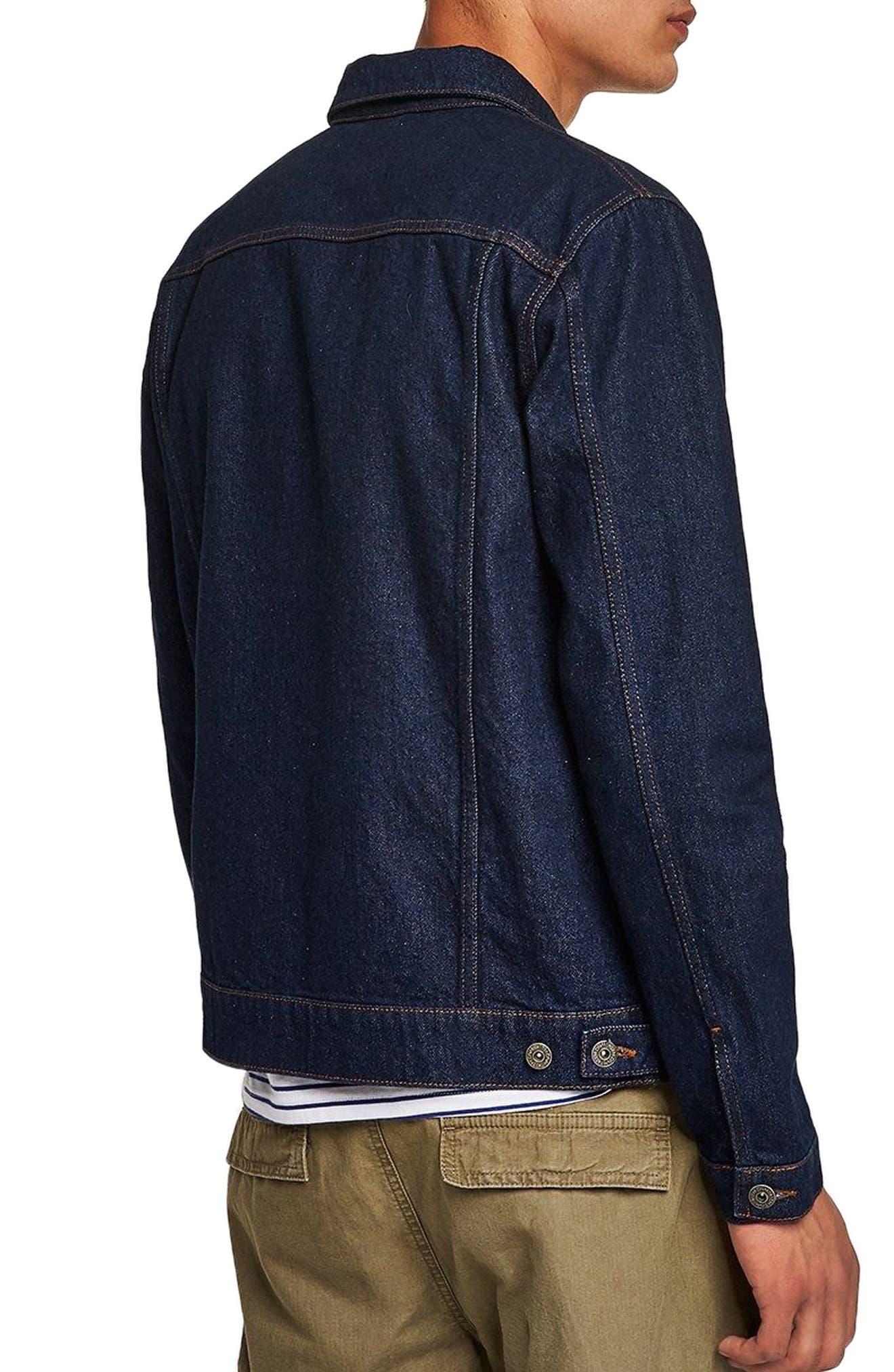 Raw Denim Jacket,                             Alternate thumbnail 2, color,                             DARK BLUE