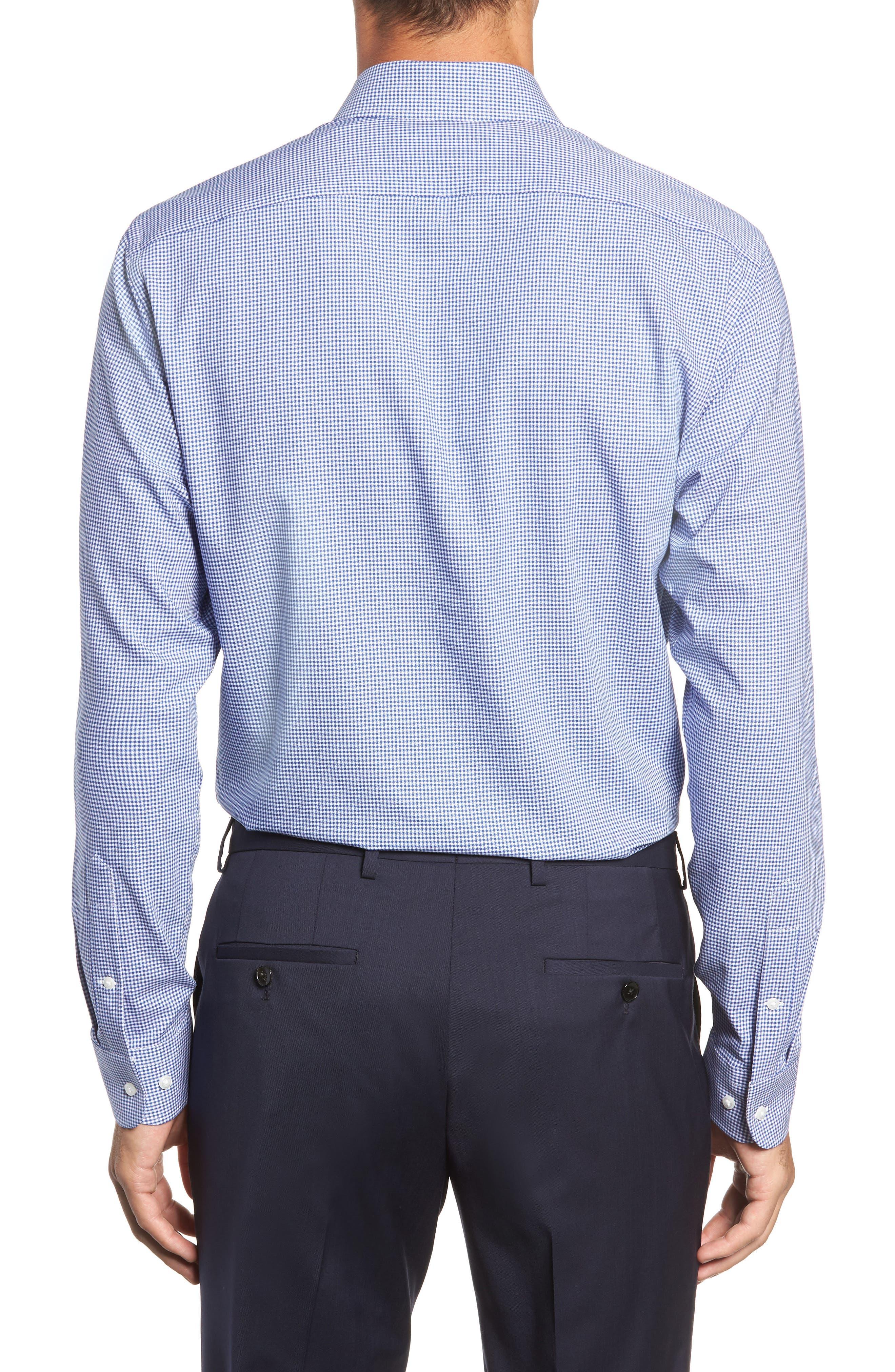 Tech-Smart Trim Fit Stretch Check Dress Shirt,                             Alternate thumbnail 3, color,                             BLUE MARINE