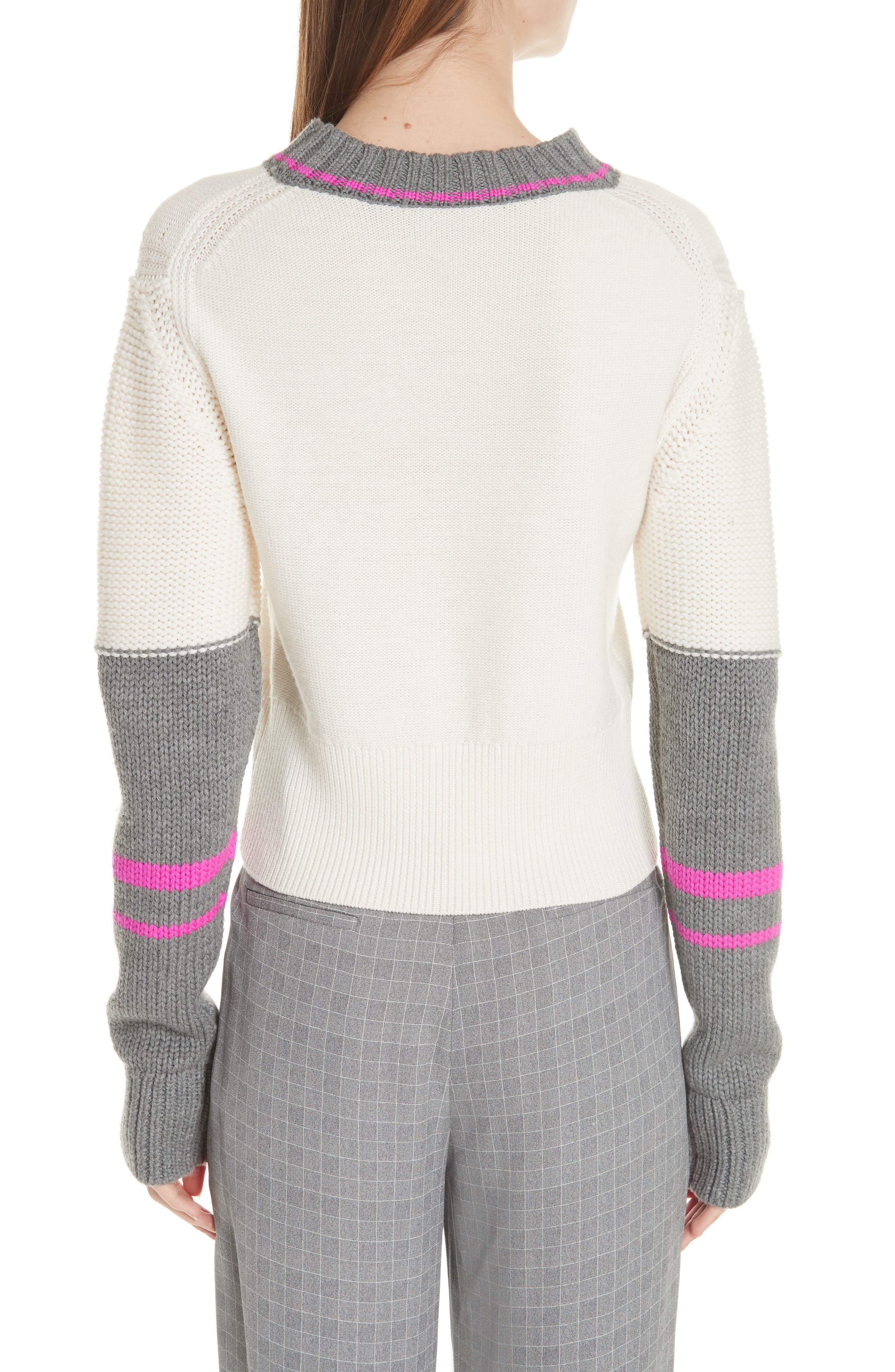 Grey Jason Wu Colorblock Merino Wool Sweater, White