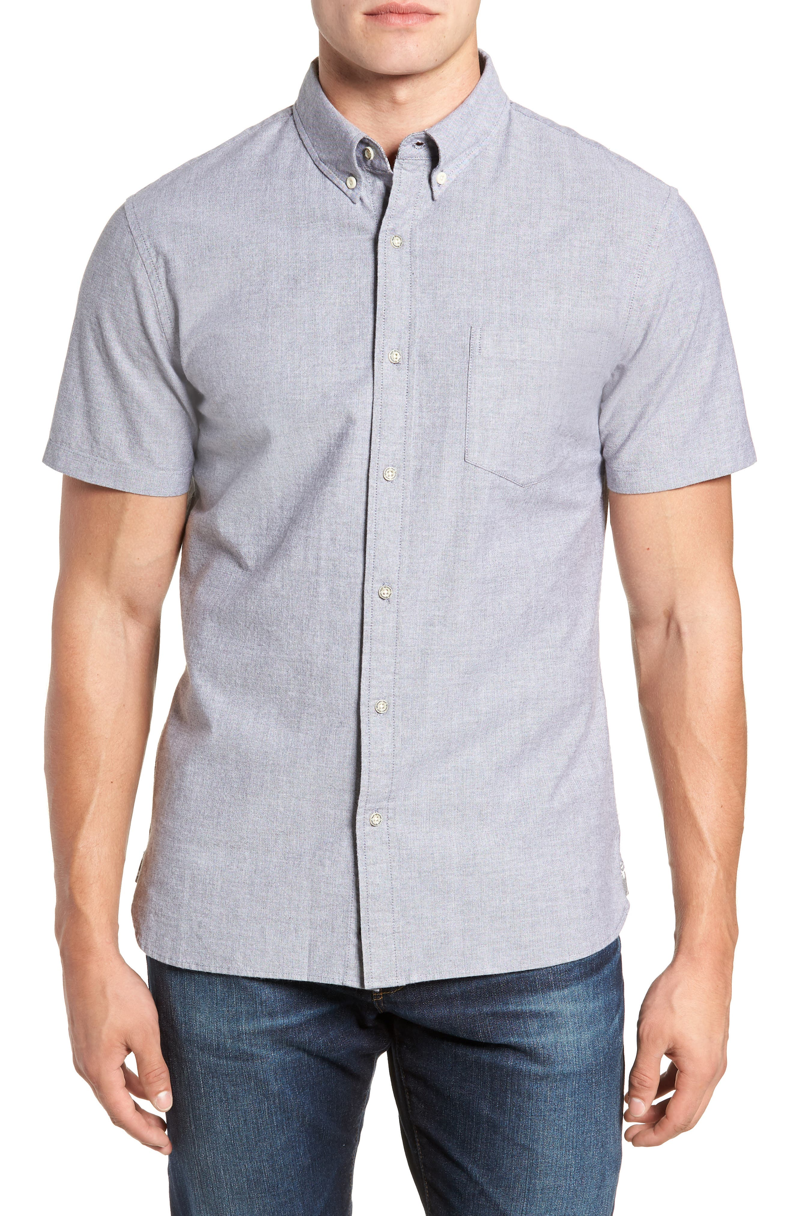 Regular Fit Solid Stretch Oxford Sport Shirt,                         Main,                         color, GREY