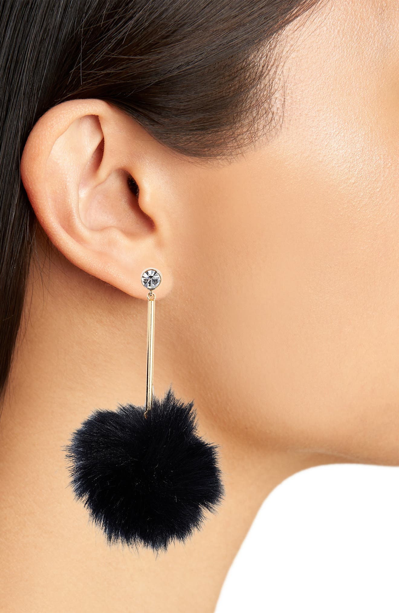flying colors faux fur pompom earrings,                             Alternate thumbnail 2, color,                             001