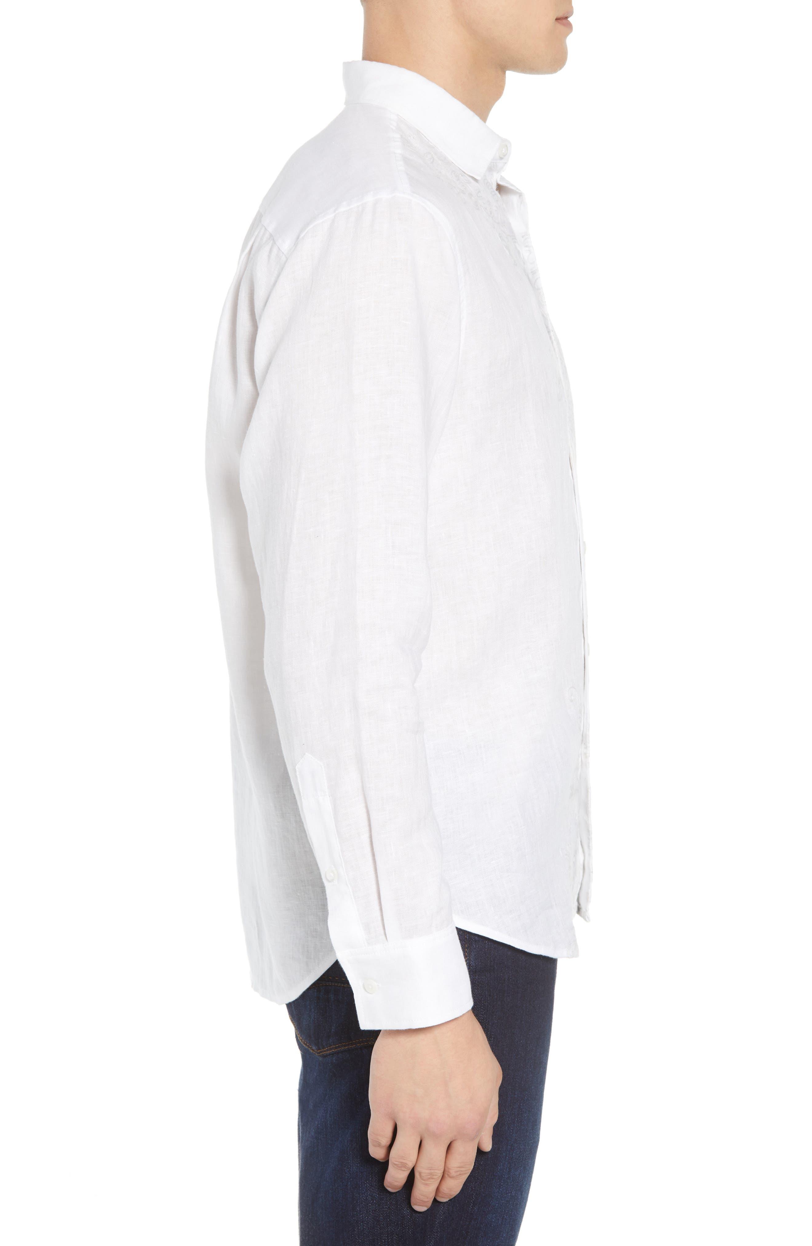 Get Your Groom On Linen Sport Shirt,                             Alternate thumbnail 3, color,                             WHITE