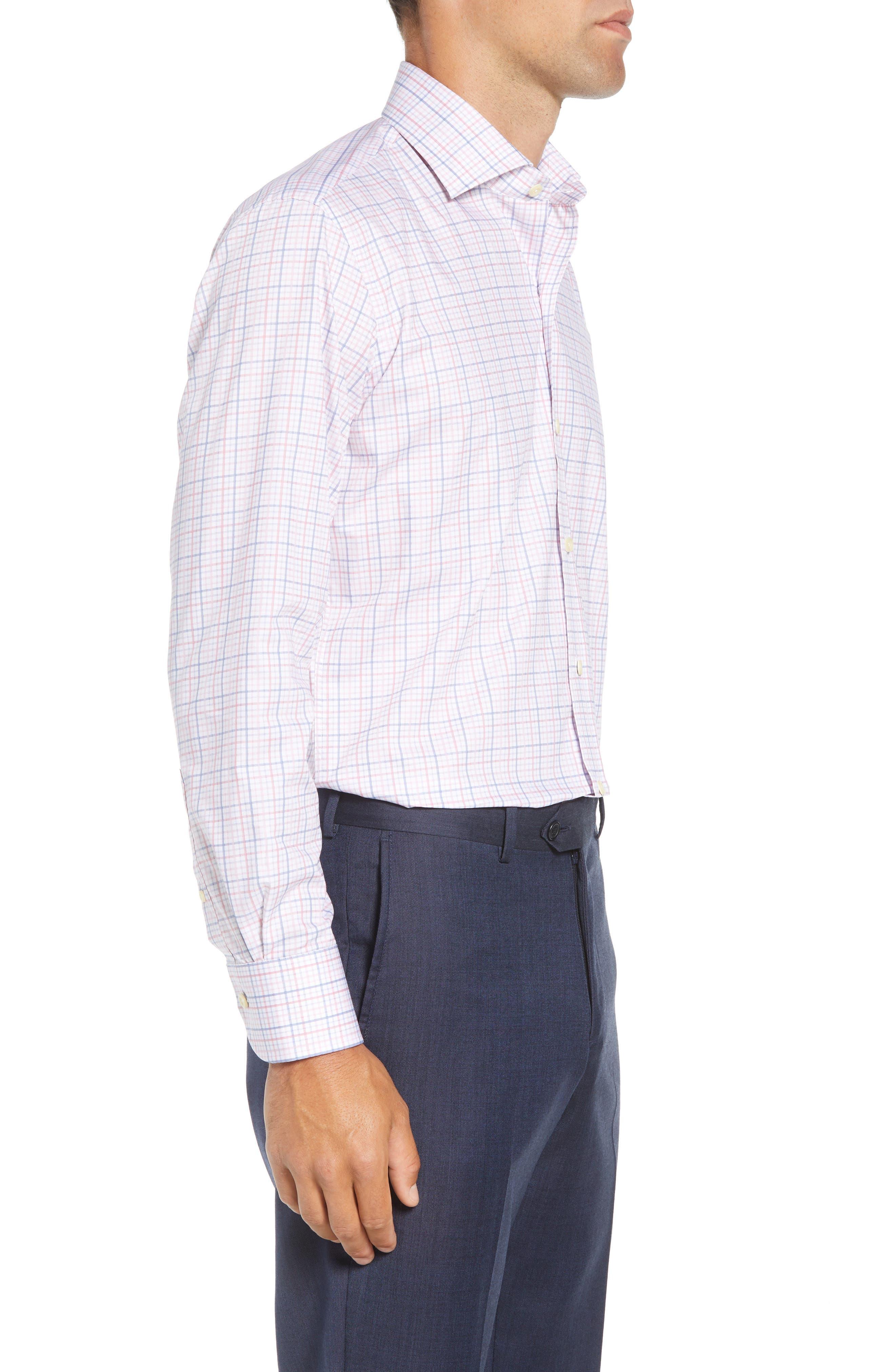 Drazin Trim Fit Check Dress Shirt,                             Alternate thumbnail 4, color,                             PINK