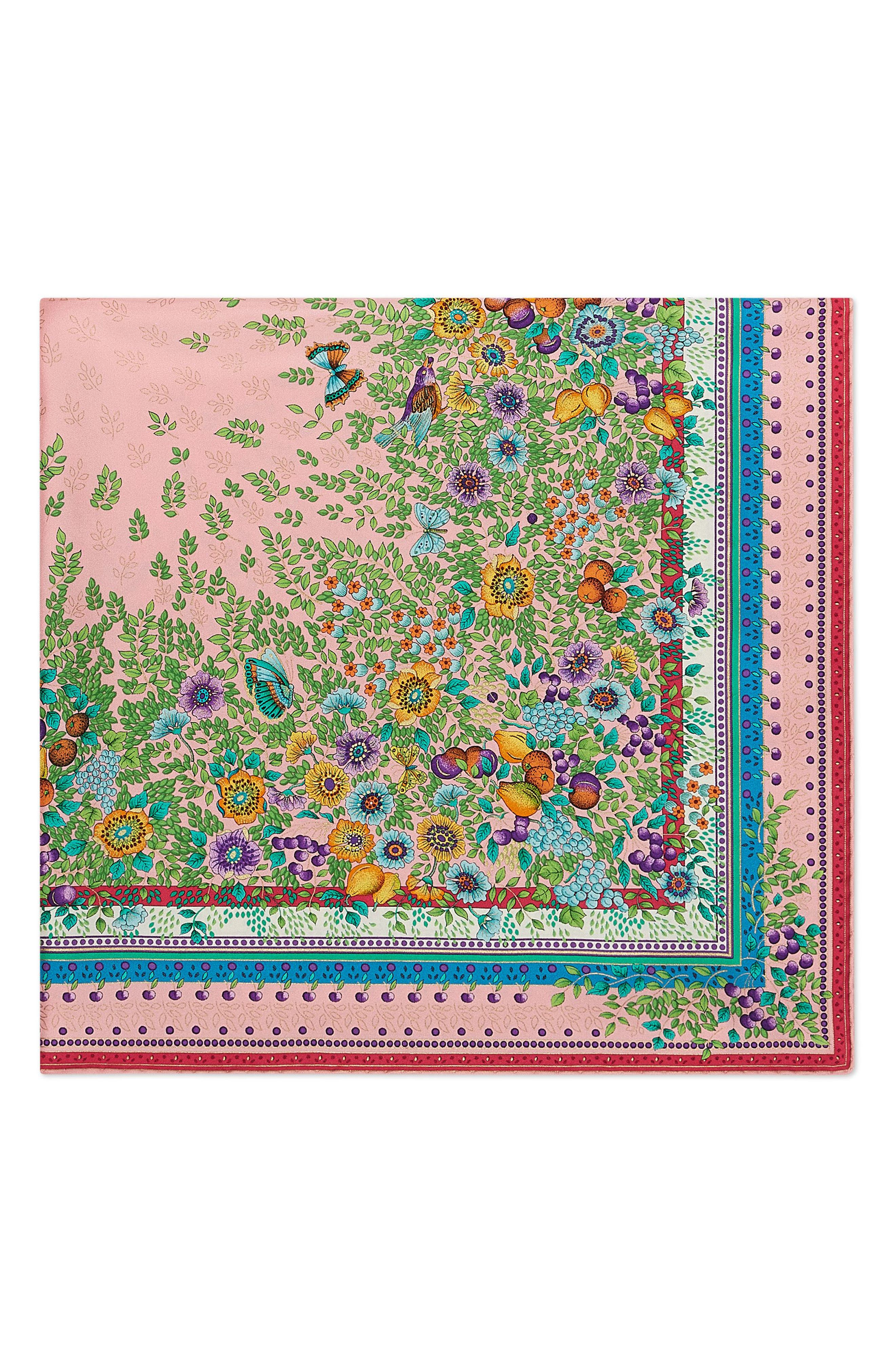 Liberty Flowers Fouland Silk Square Scarf,                             Alternate thumbnail 4, color,                             650