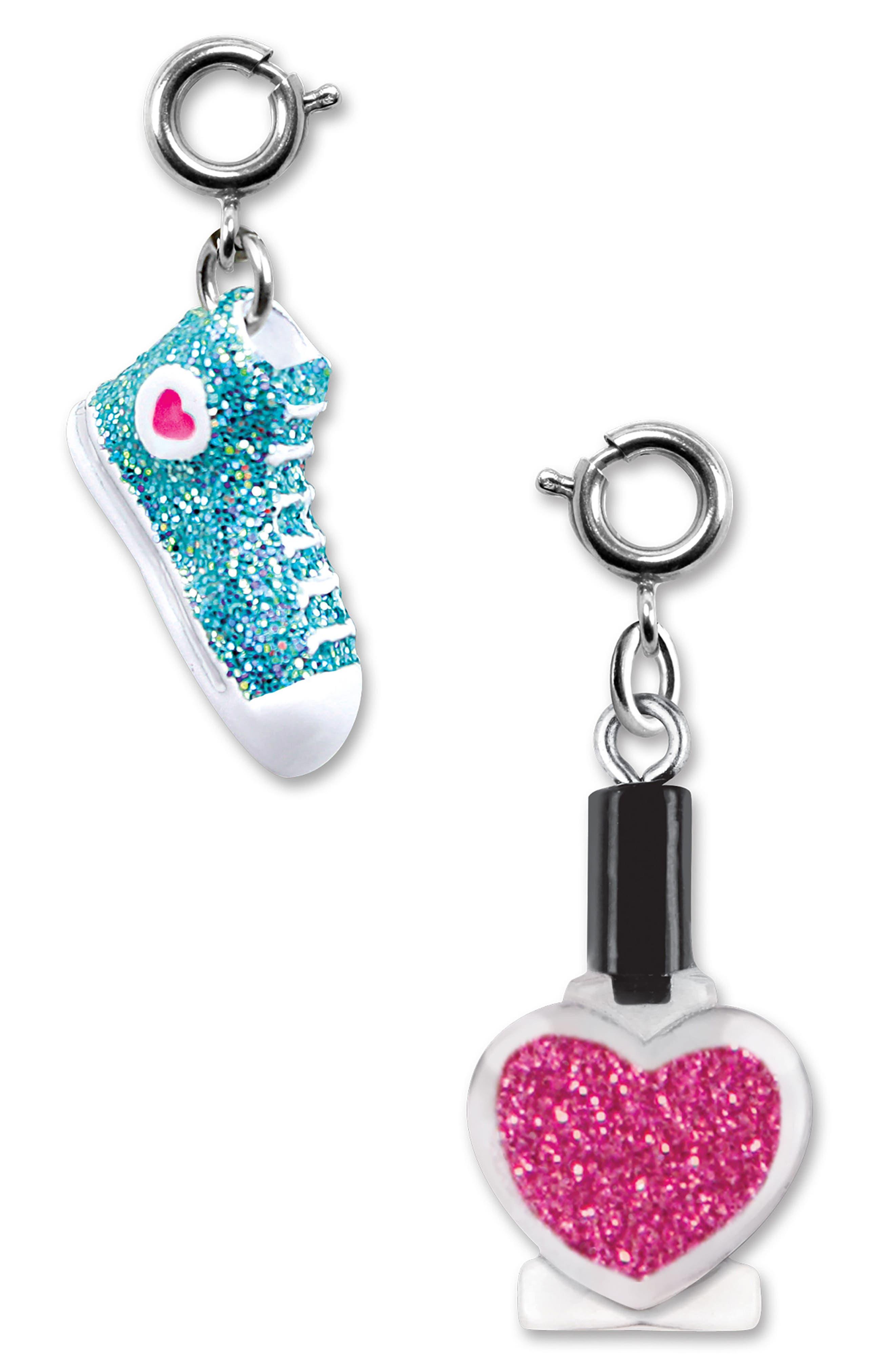 CHARM IT!<sup>®</sup> 2-Pack Glitter Sneaker & Nail Polish Charms,                             Main thumbnail 1, color,                             400