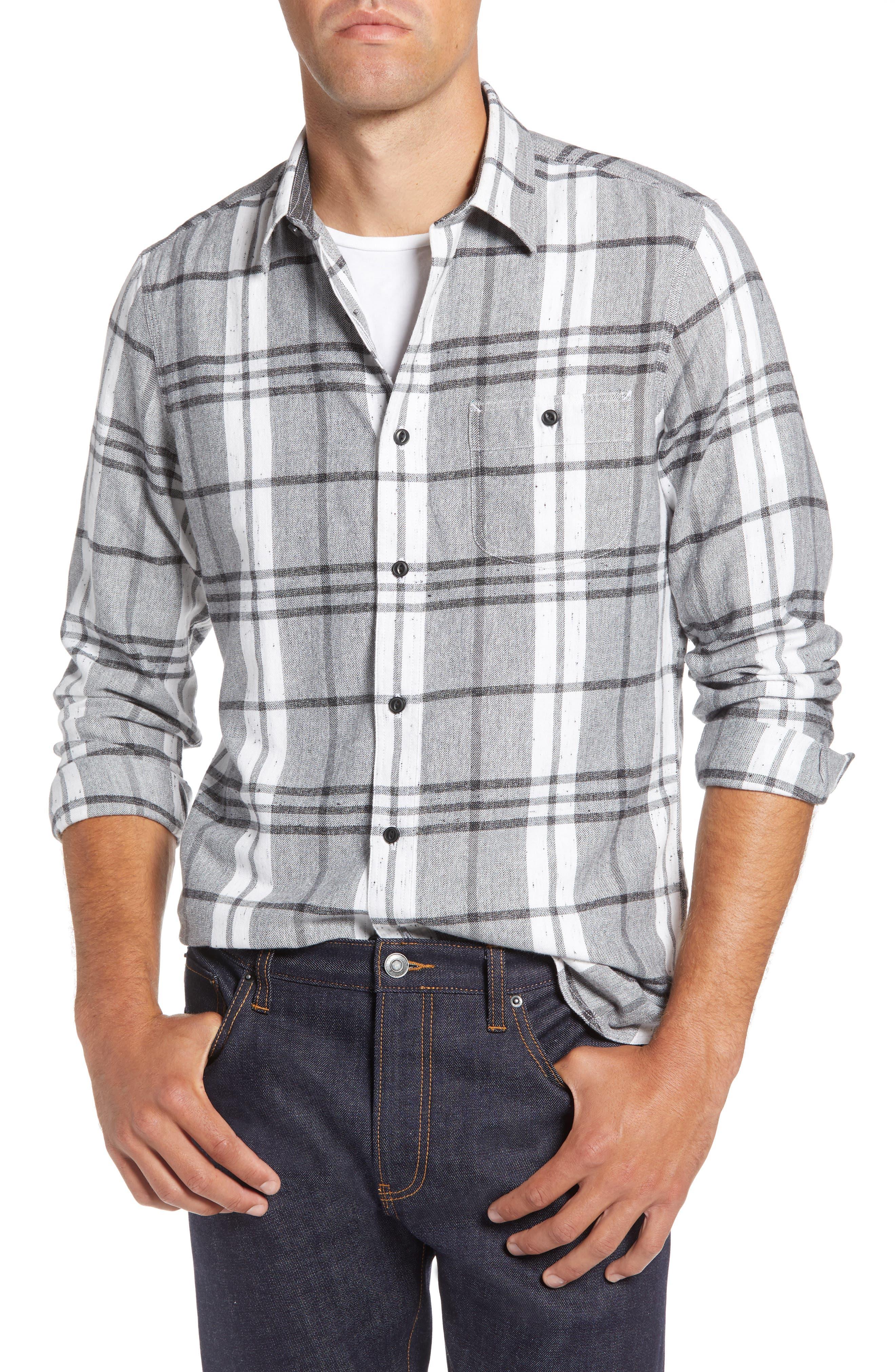 Trim Fit Brushed Plaid Utility Shirt,                         Main,                         color, GREY CASTLEROCK NEP PLAID