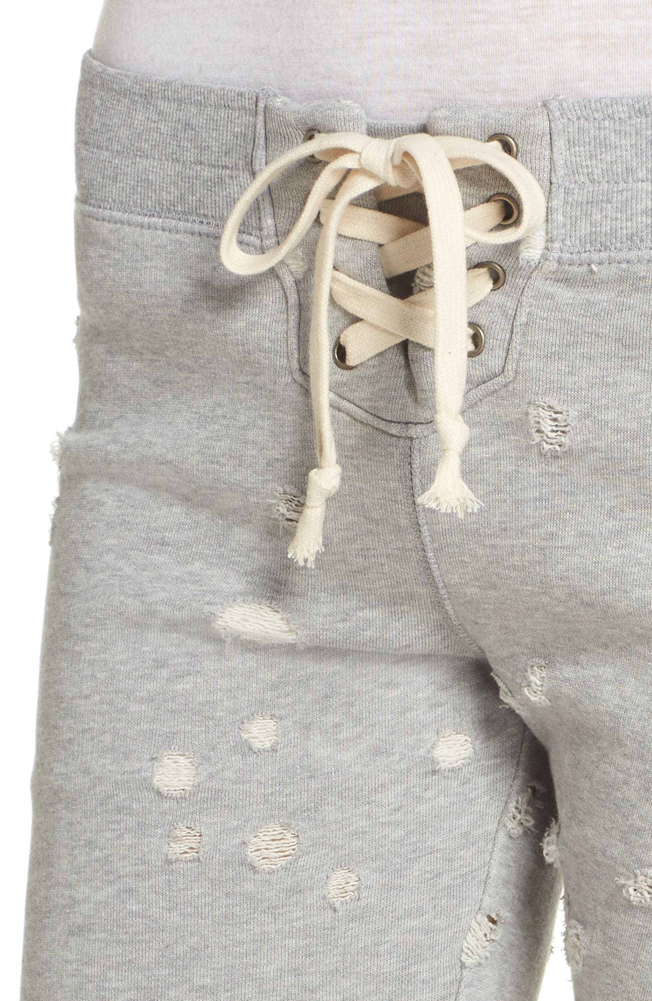 Distressed Crop Lounge Pants,                             Alternate thumbnail 4, color,                             HEATHER GREY