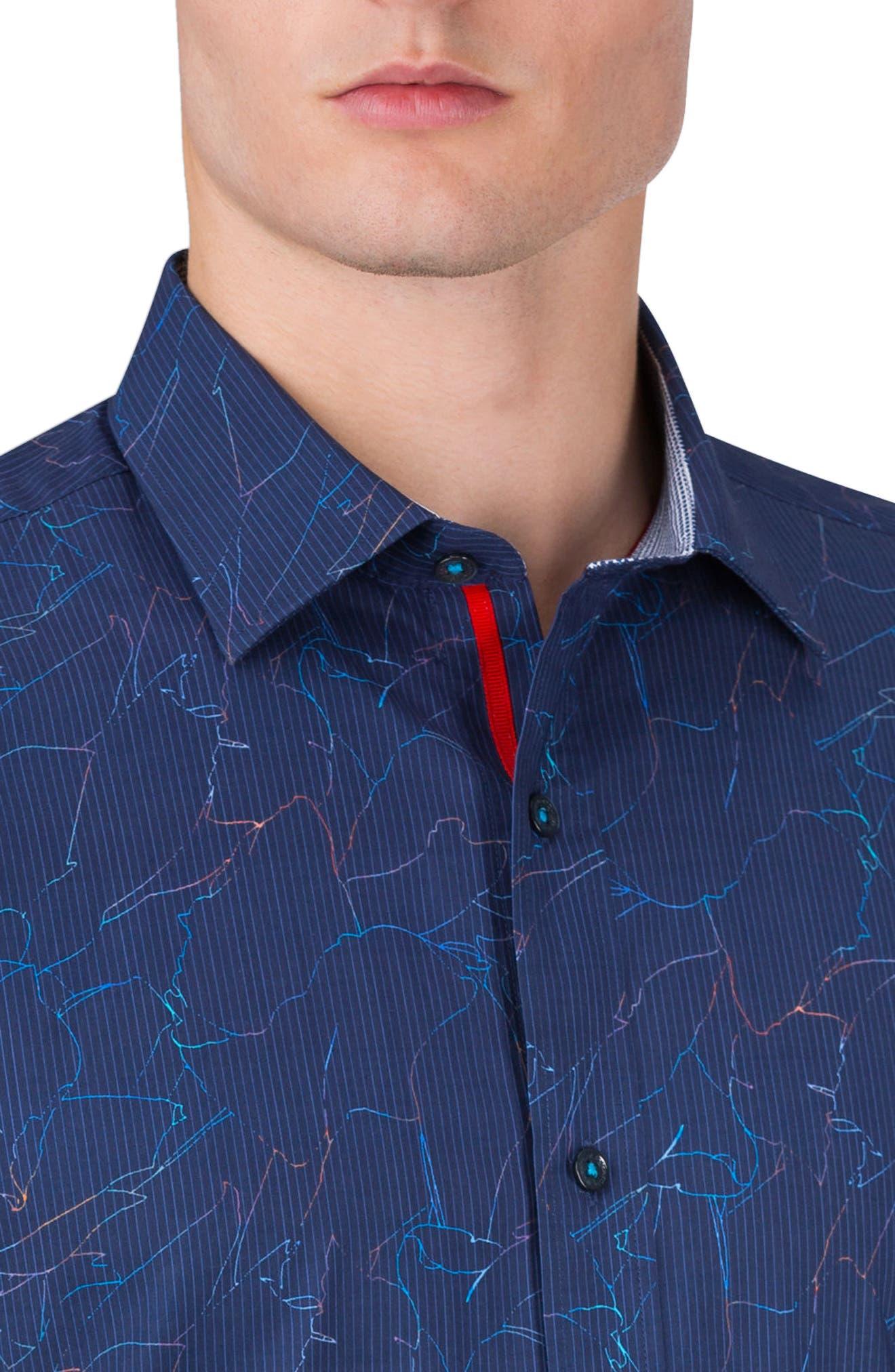 Classic Fit Crackle Stripe Sport Shirt,                             Alternate thumbnail 4, color,                             410