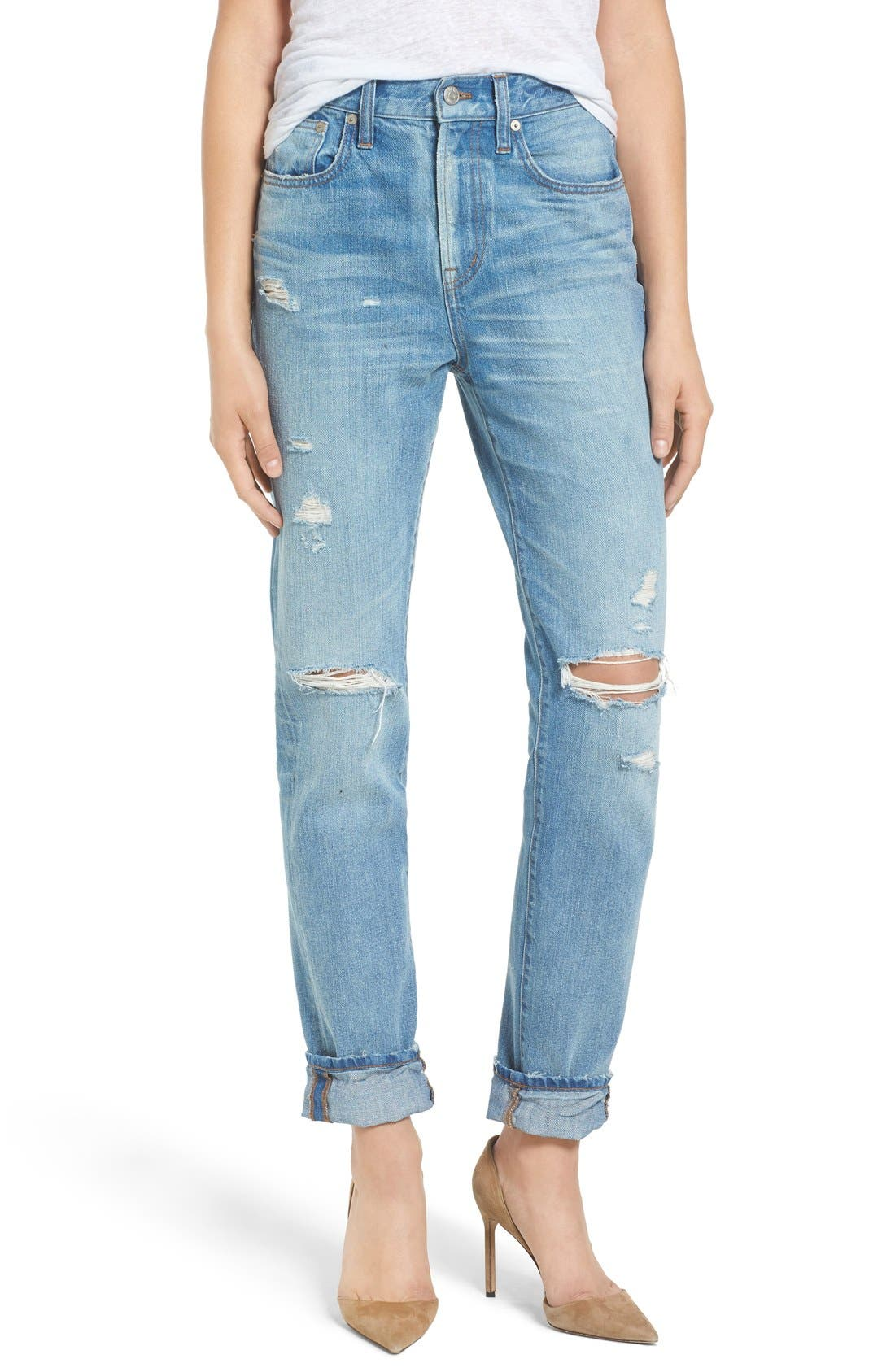 Perfect Vintage Ripped High Waist Boyfriend Jeans,                         Main,                         color,
