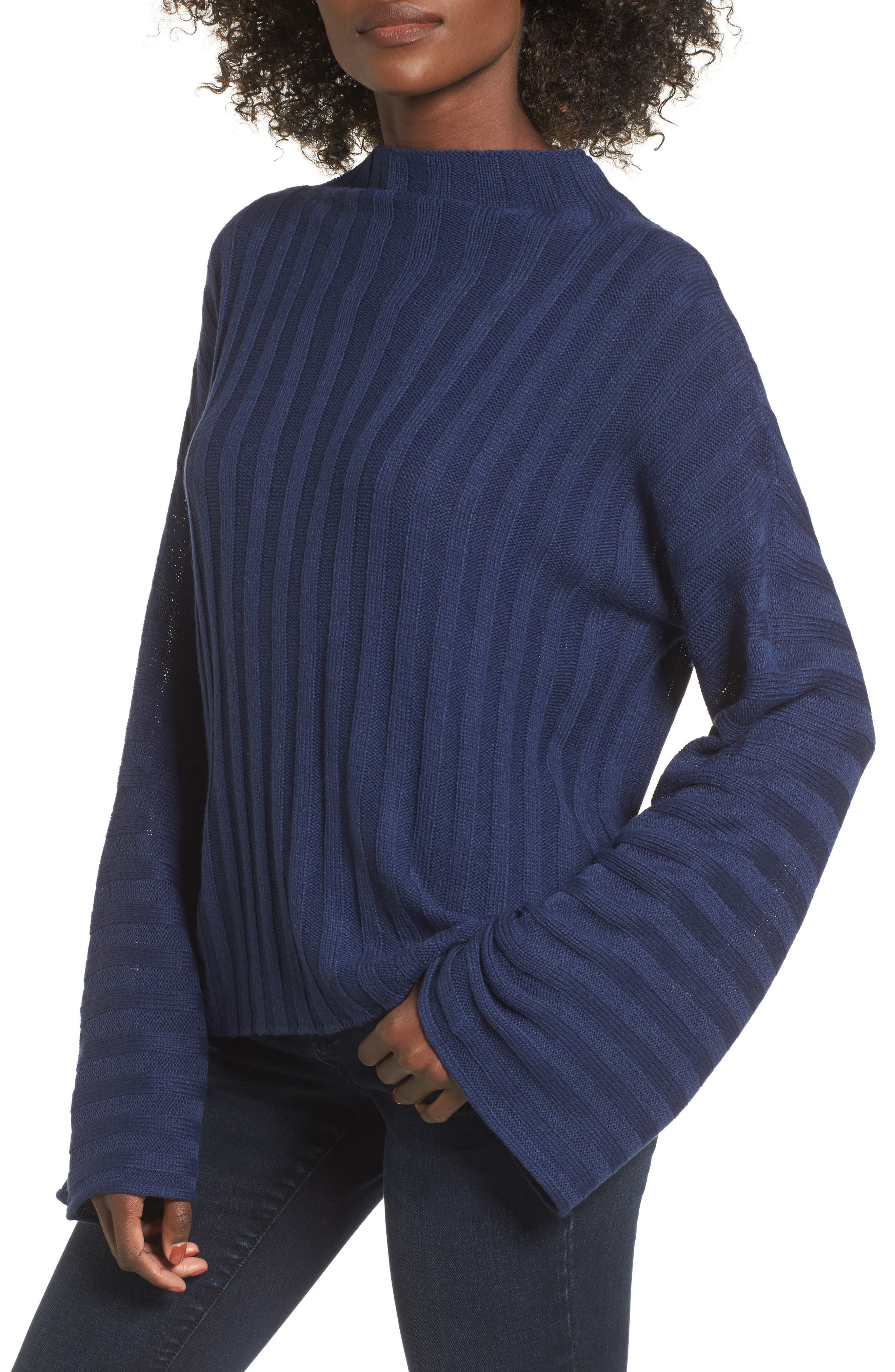 Wide Rib Mock Neck Sweater,                             Main thumbnail 2, color,