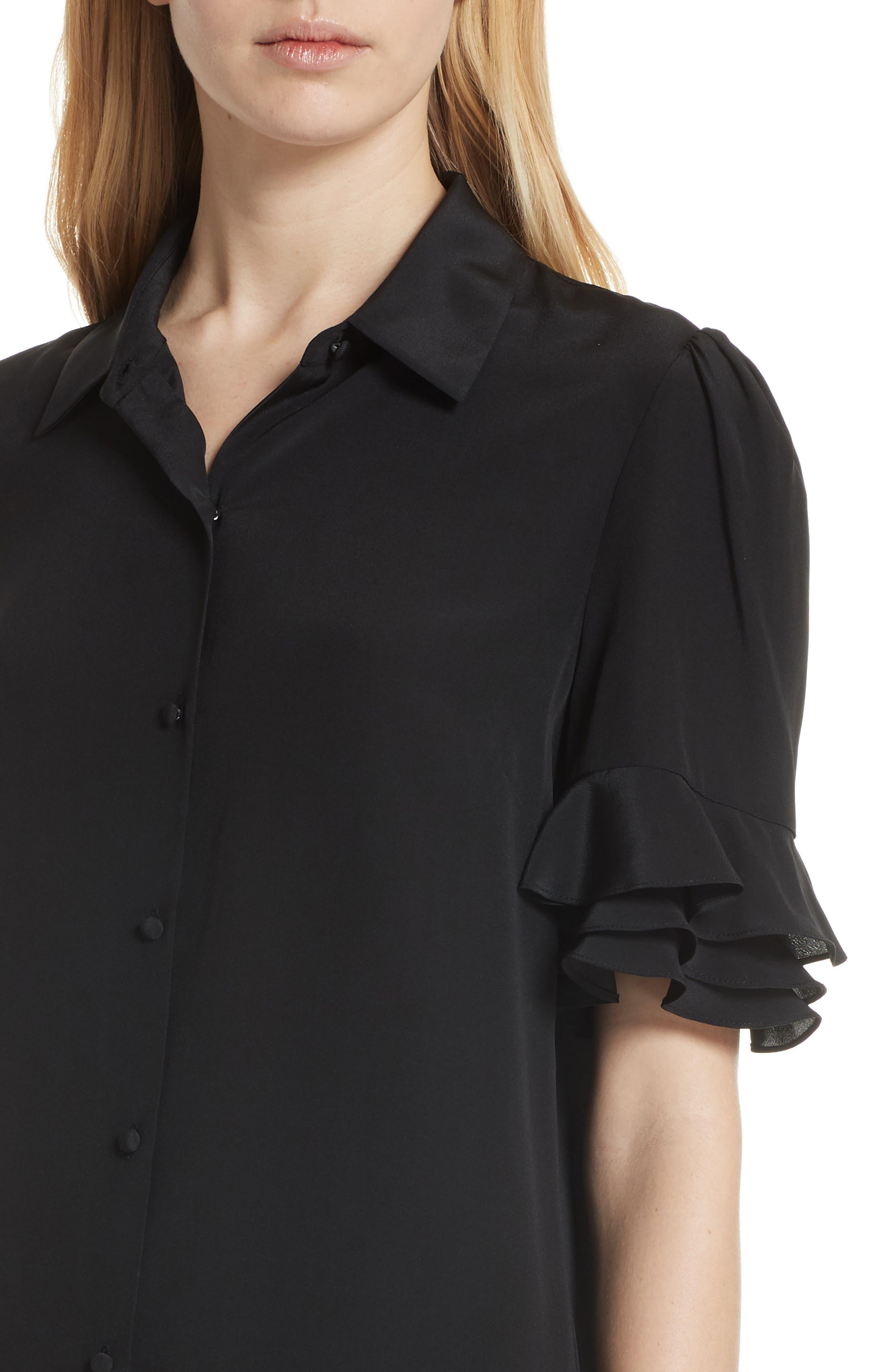 Ruffle Sleeve Silk Dress,                             Alternate thumbnail 4, color,                             001