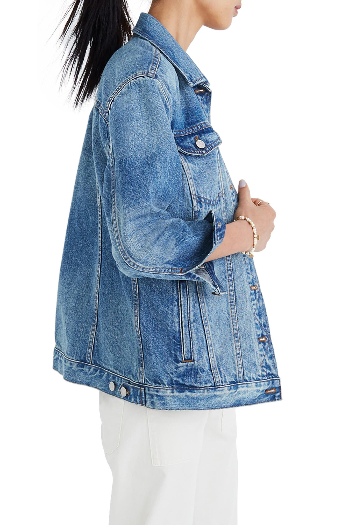 Oversize Denim Jacket,                             Alternate thumbnail 3, color,                             CAPSTONE WASH