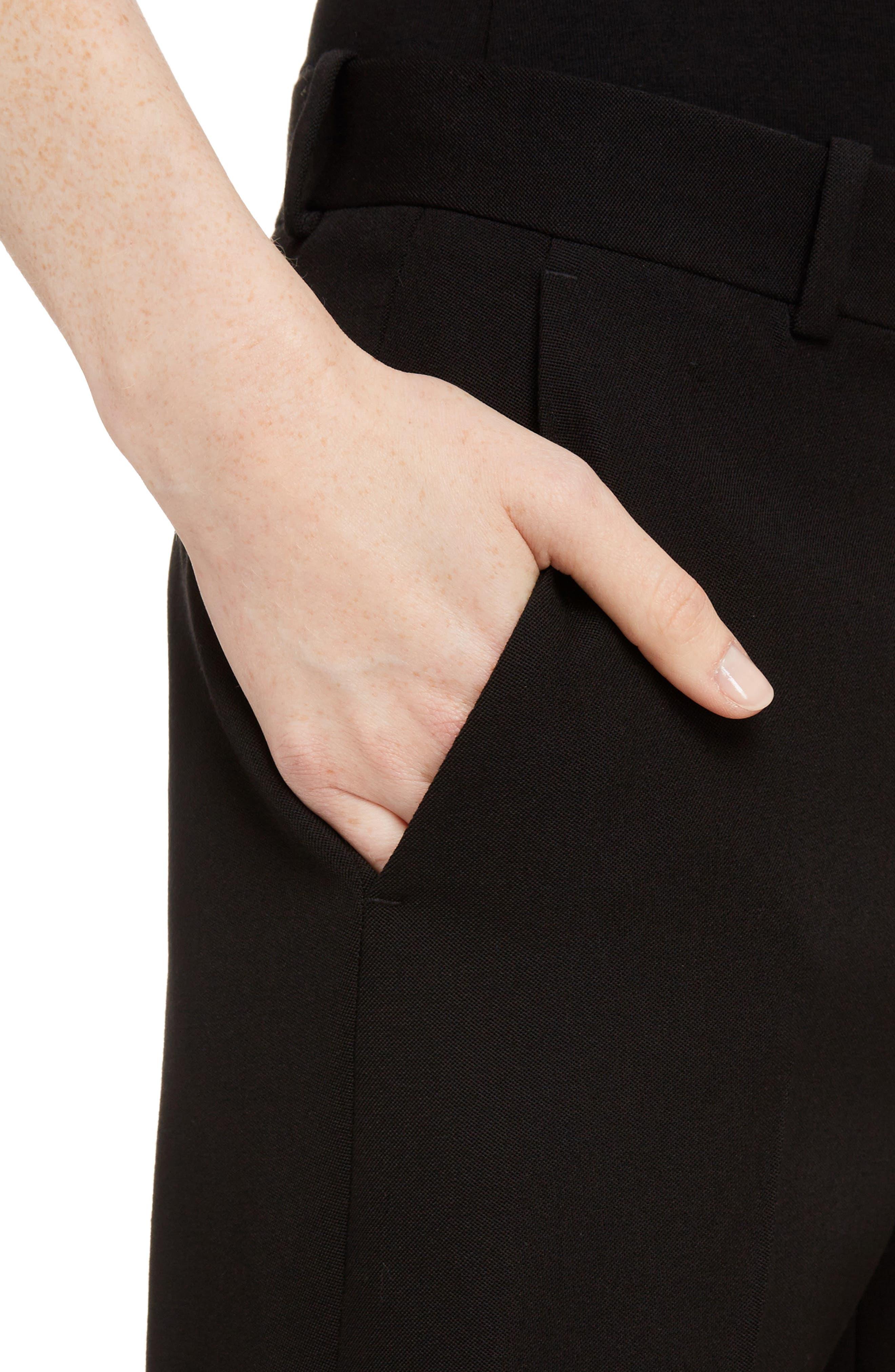 Wool Straight Leg Pants,                             Alternate thumbnail 4, color,                             001