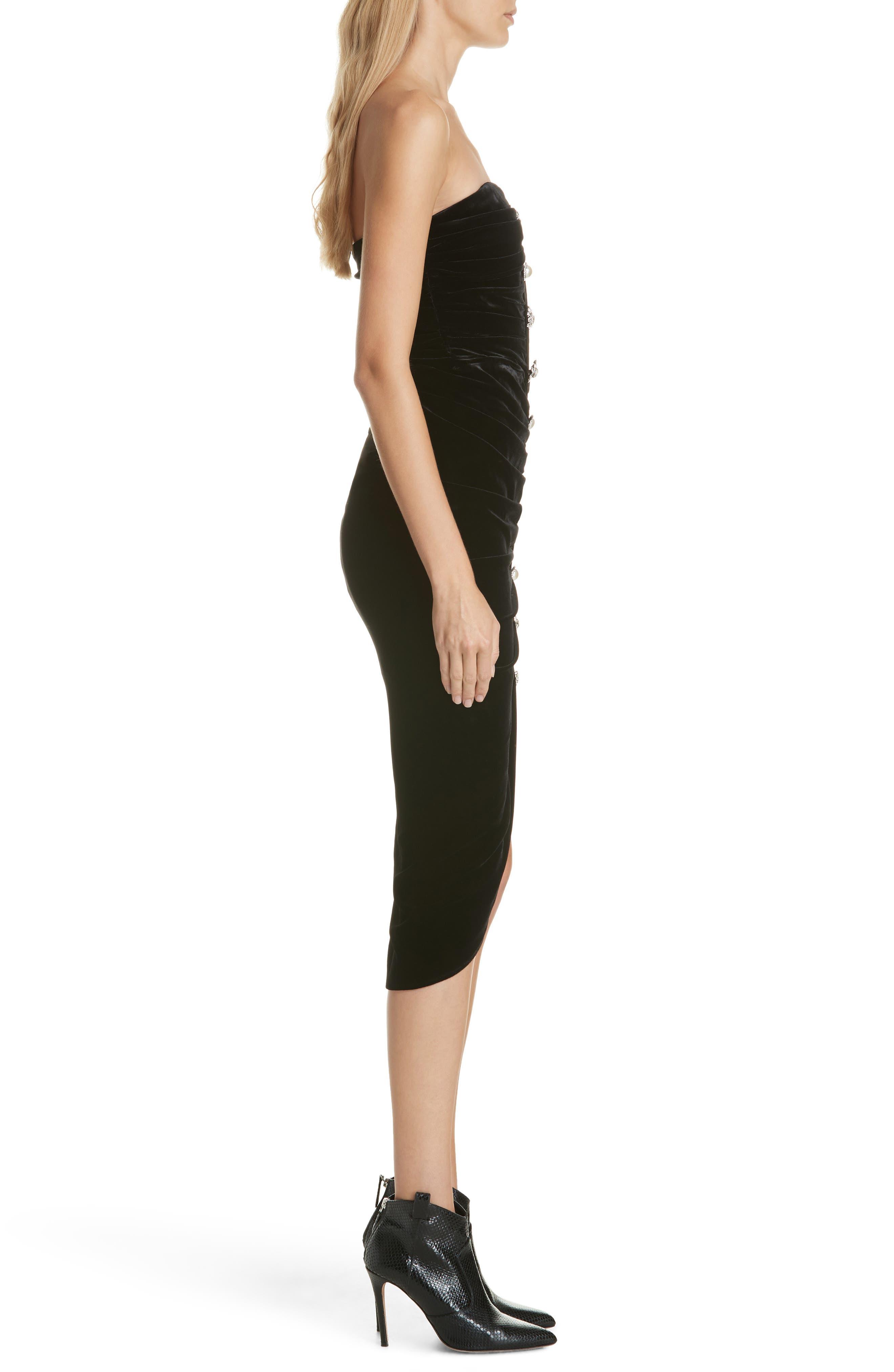 Palo Strapless Velvet Dress,                             Alternate thumbnail 3, color,                             BLACK