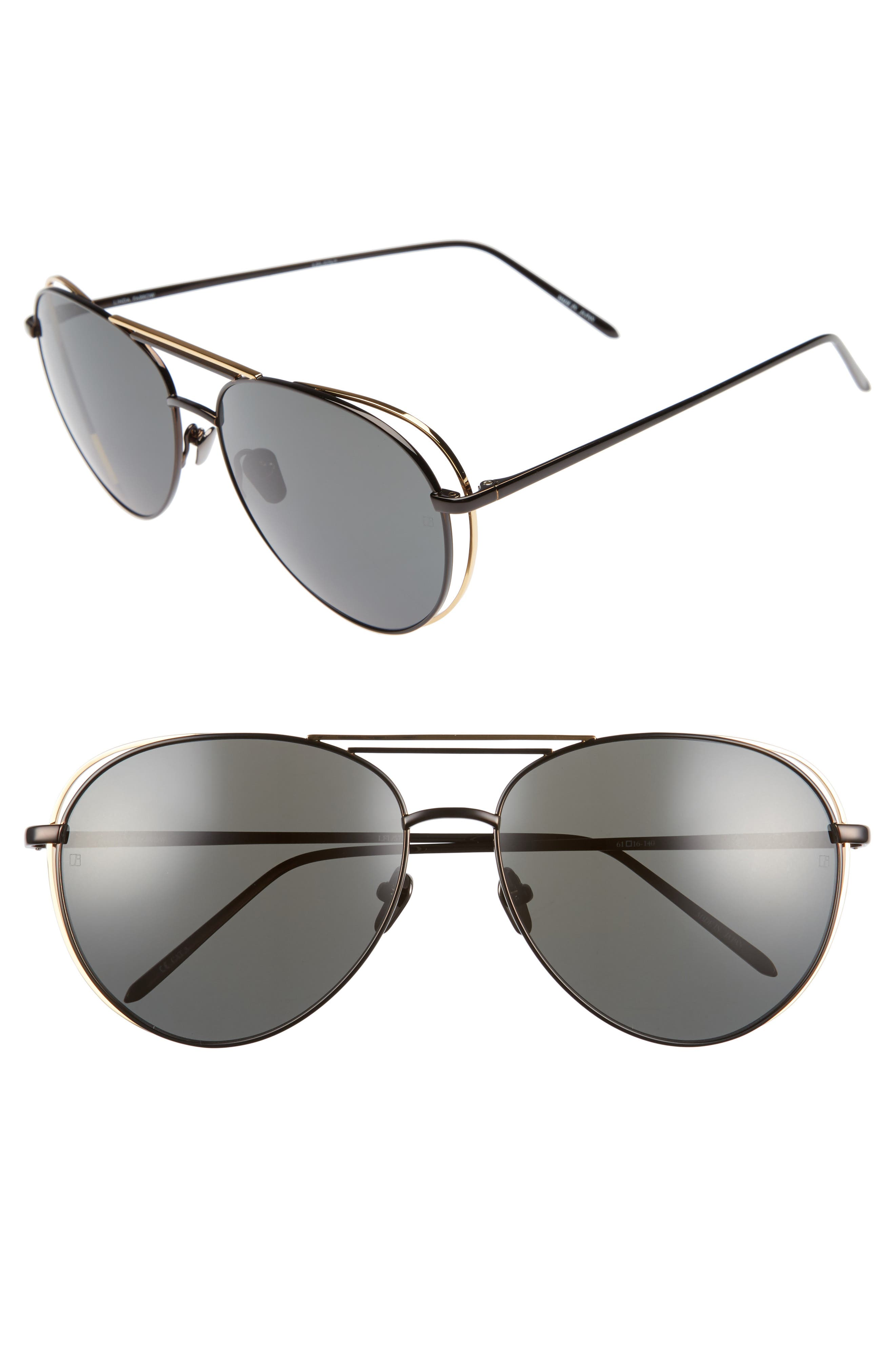 61mm 18 Karat Gold Aviator Sunglasses,                         Main,                         color,