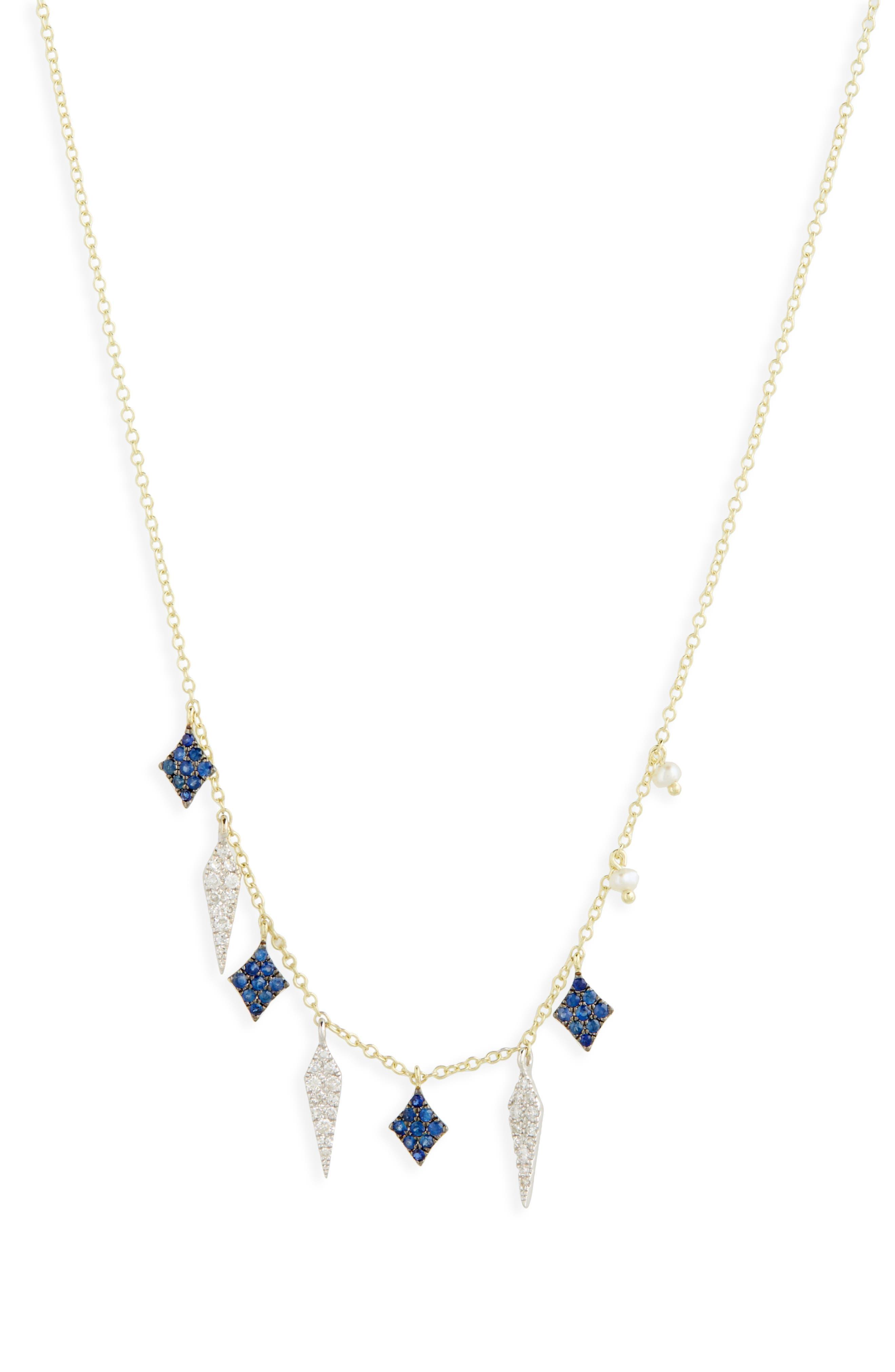 Miera T Diamond & Sapphire Charm Necklace,                         Main,                         color, 710