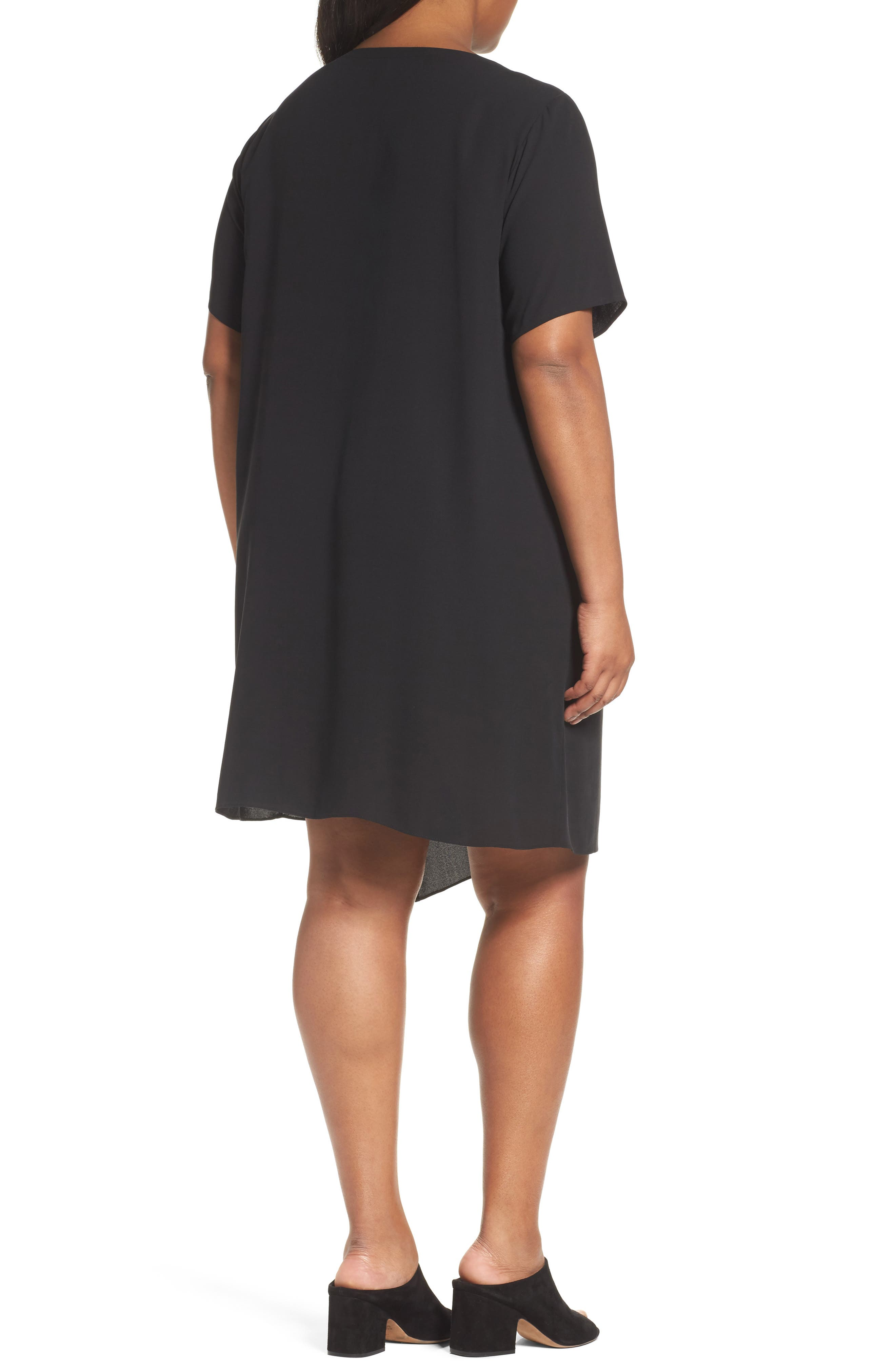 Asymmetrical Silk Shift Dress,                             Alternate thumbnail 2, color,                             001