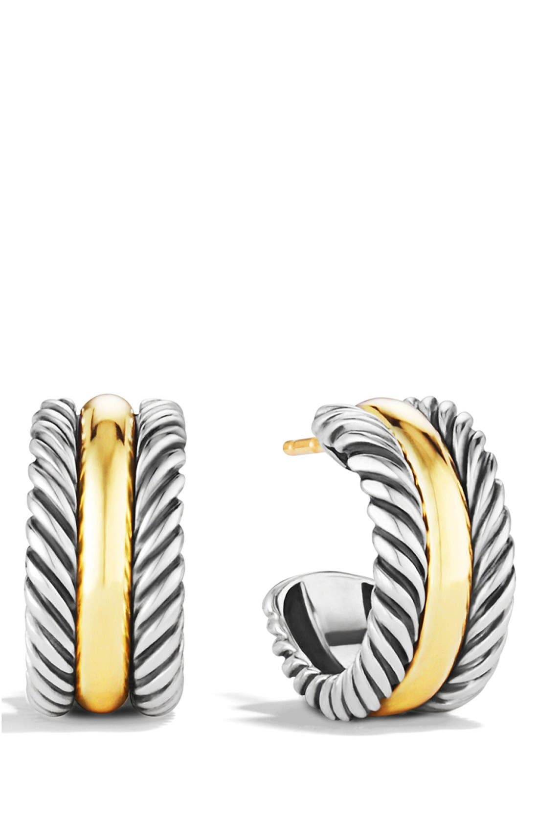 DAVID YURMAN,                             'Cable Classics' Hoop Earrings with Gold,                             Main thumbnail 1, color,                             TWO TONE