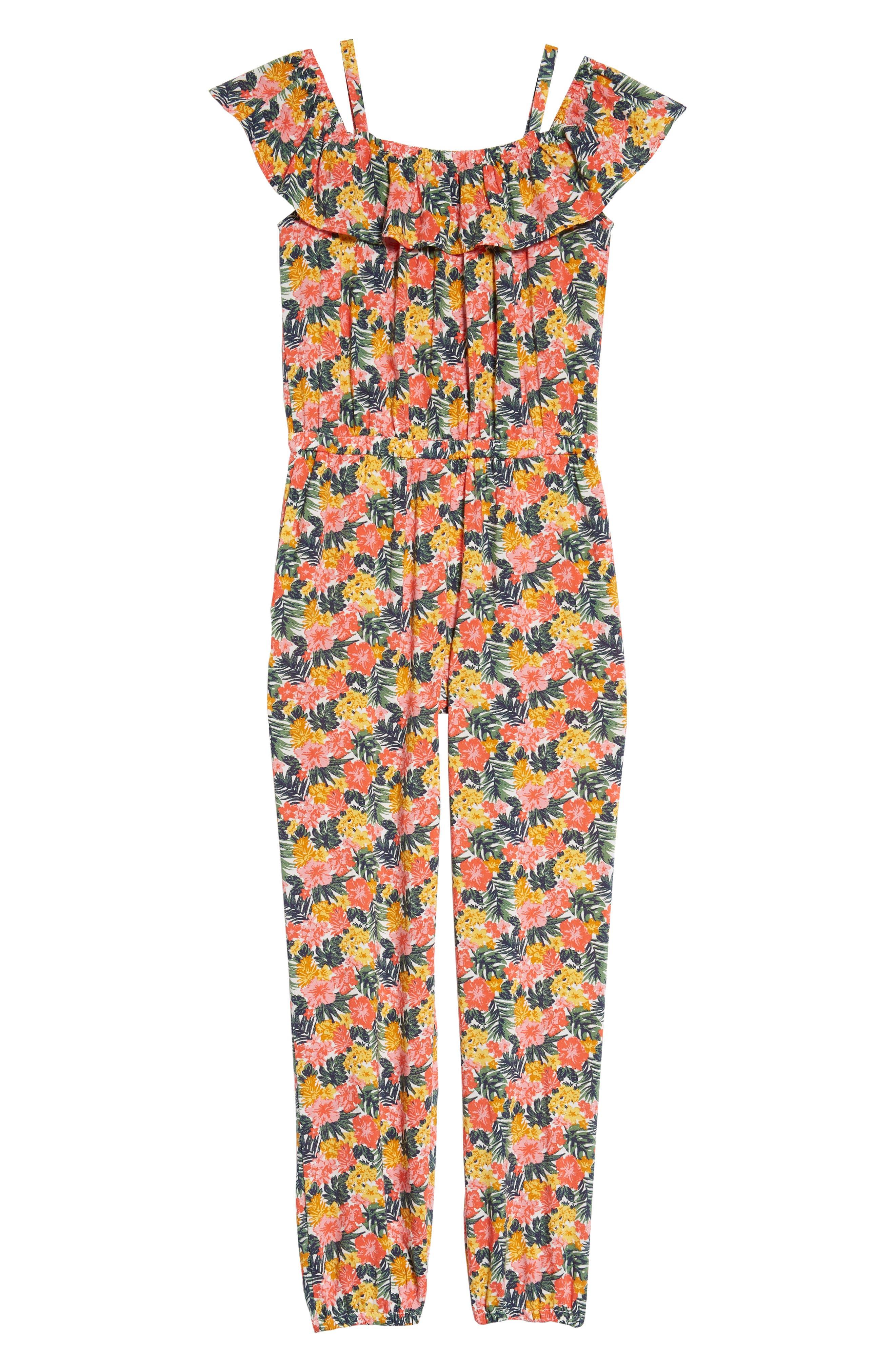 Ruffle Cold Shoulder Jumpsuit,                         Main,                         color, 900