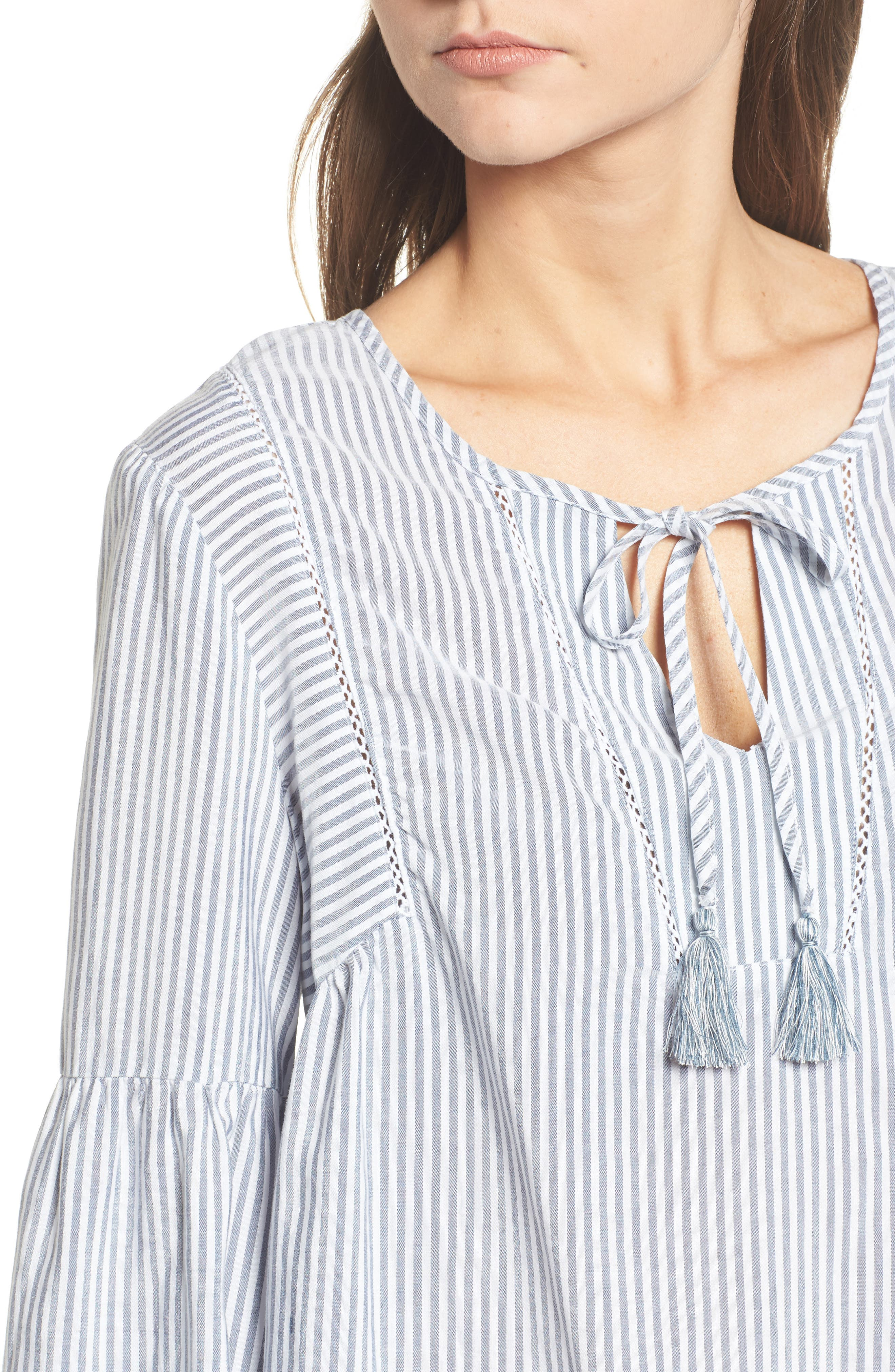 Tassel Shirt,                             Alternate thumbnail 4, color,                             MED WASH