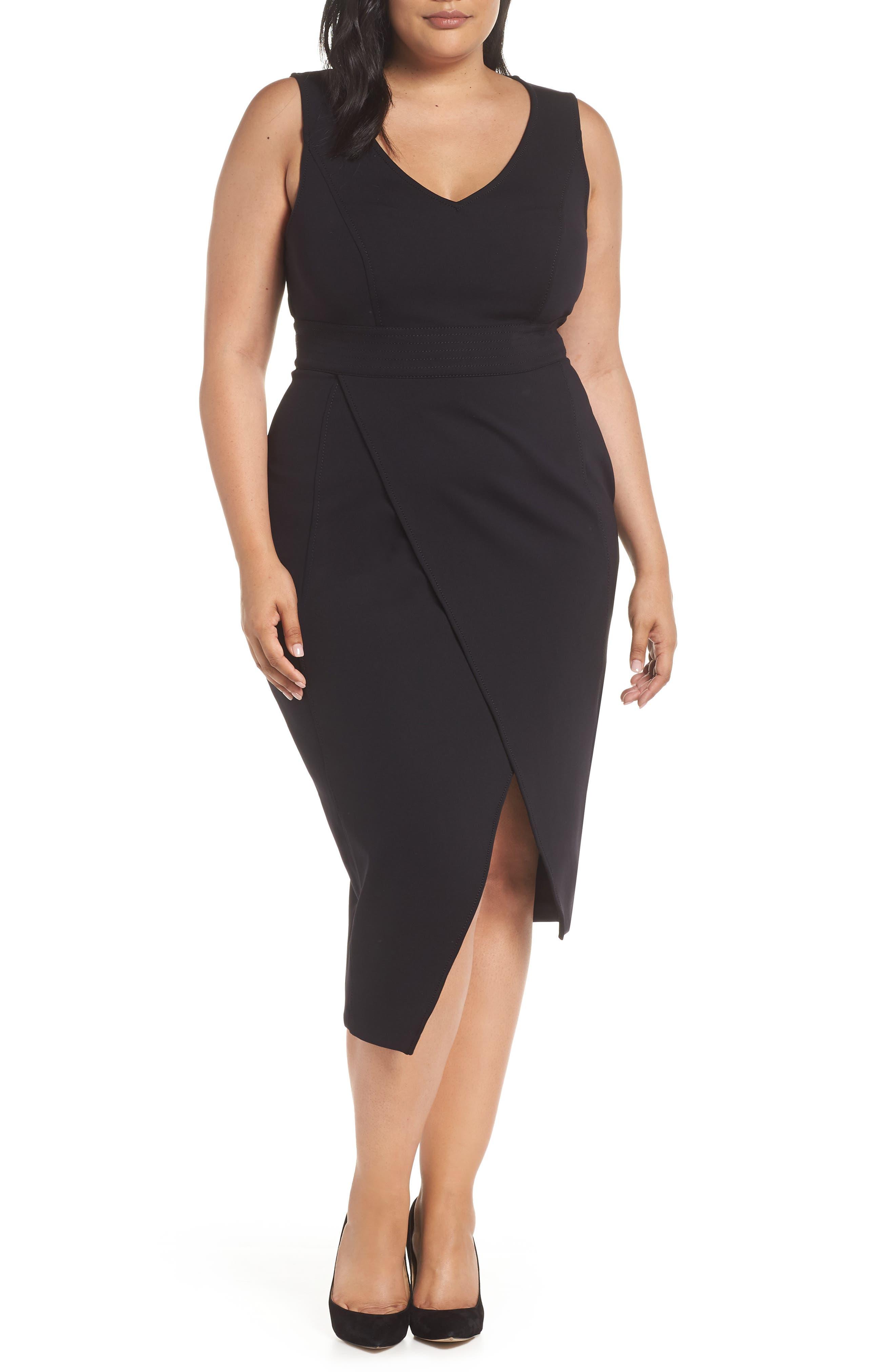 ASHLEY GRAHAM X MARINA RINALDI Oceanino Body-Con Dress in Black