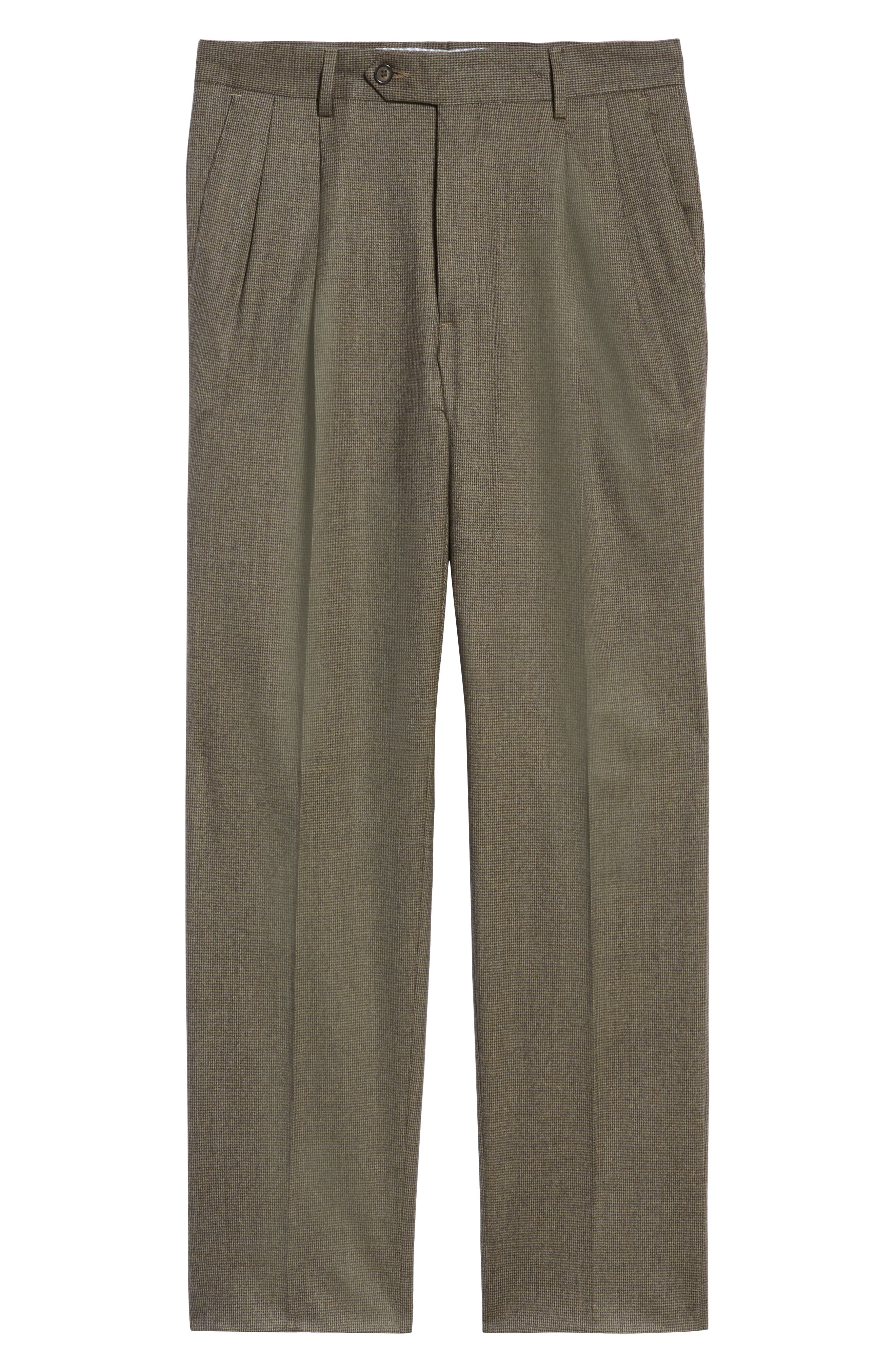 Pleated Stretch Houndstooth Wool Trousers,                             Alternate thumbnail 6, color,                             TAN