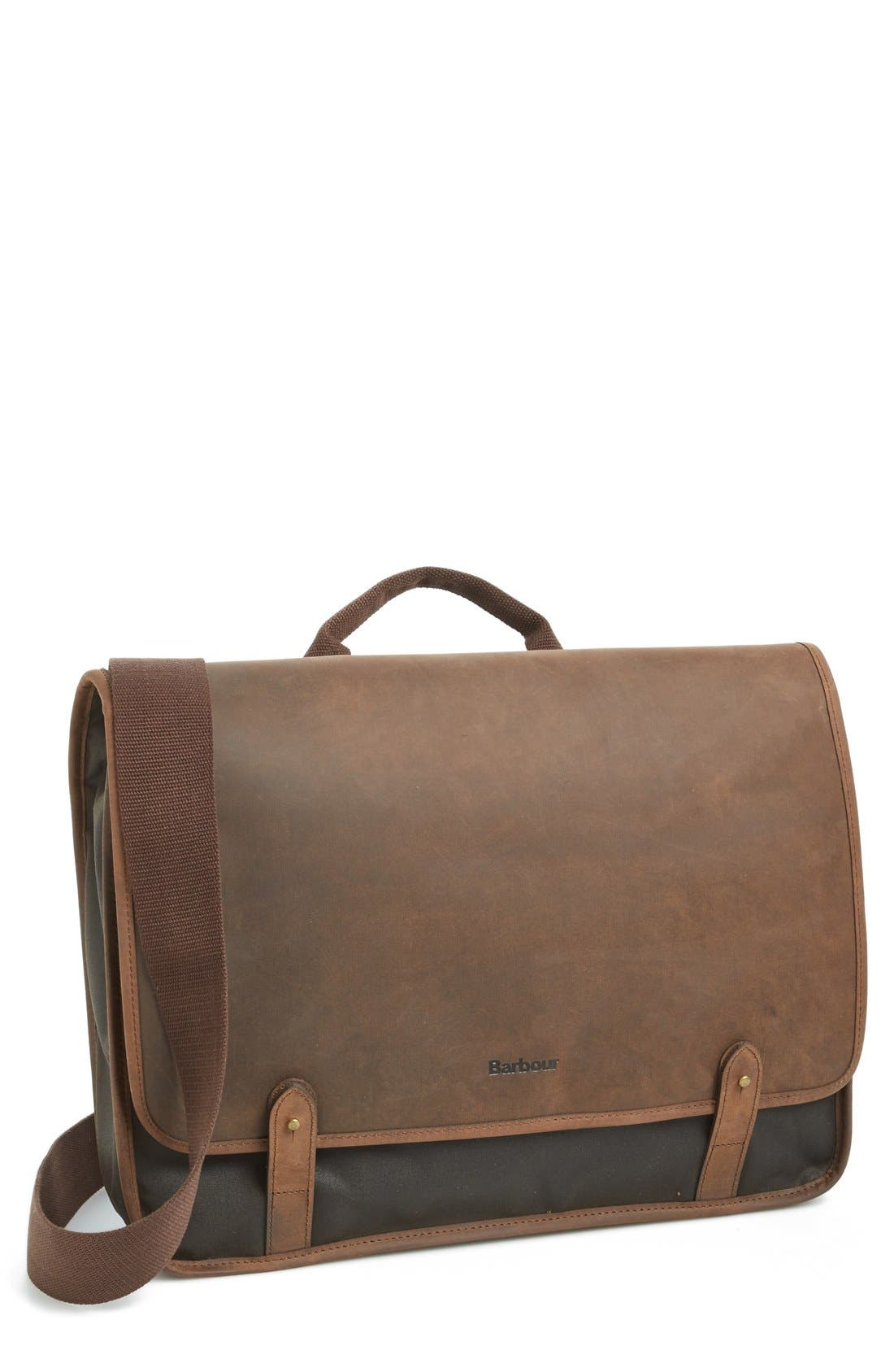 BARBOUR Waxed Canvas & Leather Messenger Bag, Main, color, 340