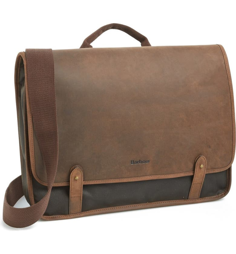 f5b551ca8e8 BARBOUR Waxed Canvas   Leather Messenger Bag, Main, color, ...