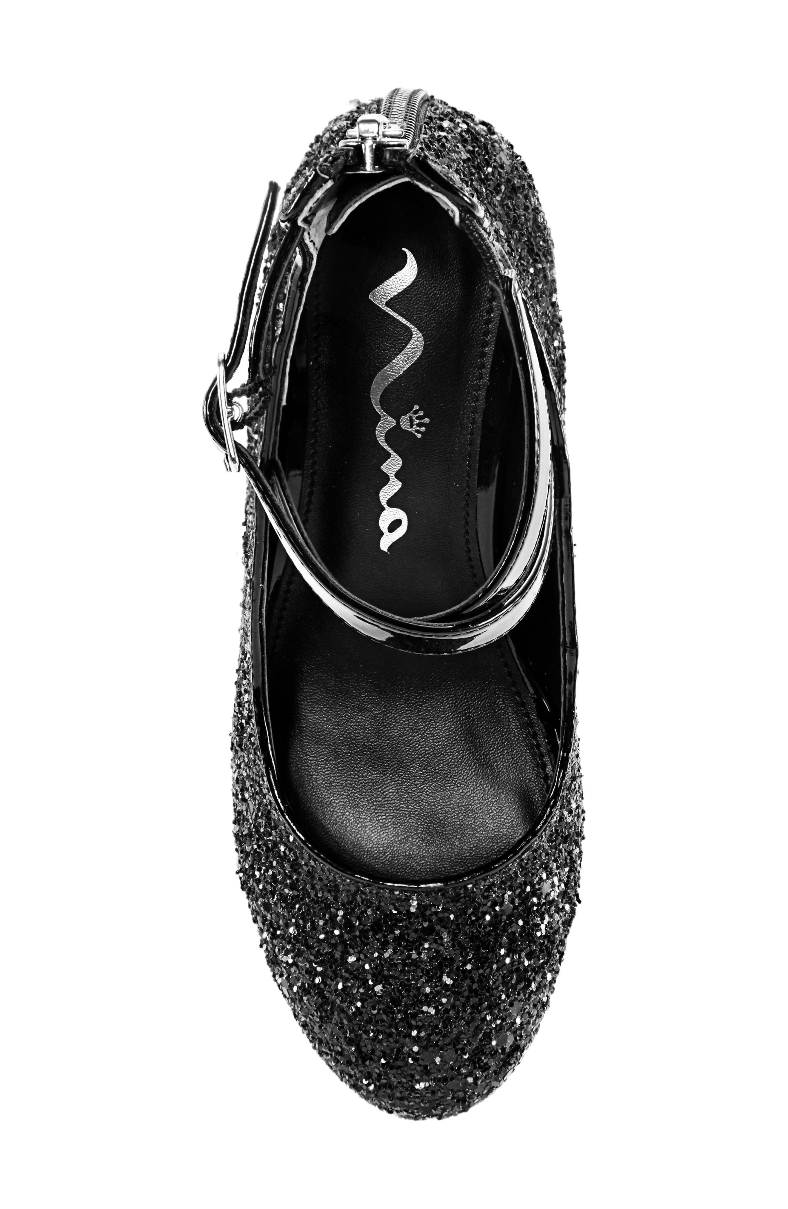 Deisy Glitter Block Heel Pump,                             Alternate thumbnail 5, color,                             BLACK CHUNK GLITTER/ PATENT