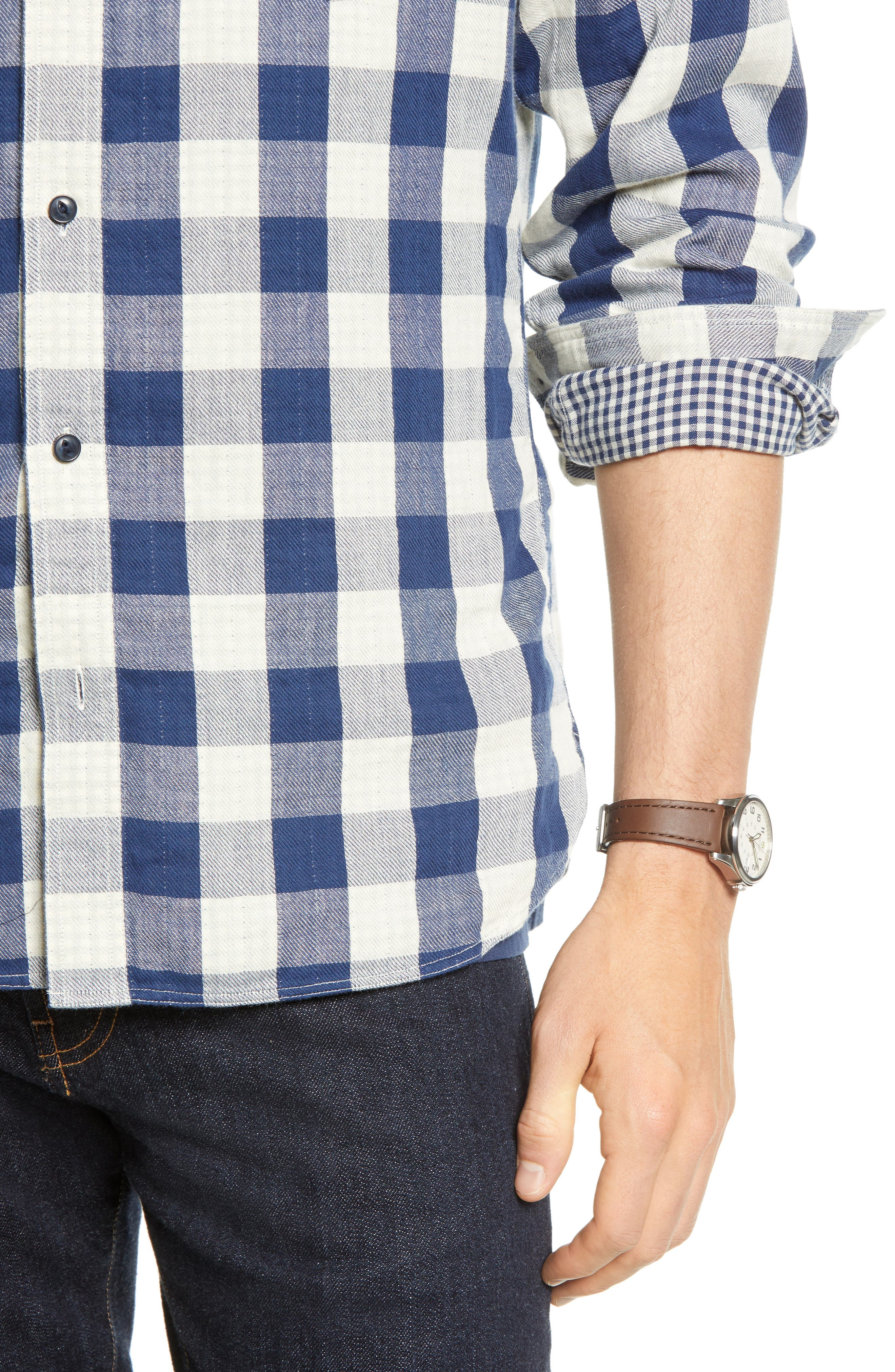 Utility Trim Fit Duofold Sport Shirt,                             Alternate thumbnail 2, color,                             NAVY WHITE BUFFALO GINGHAM